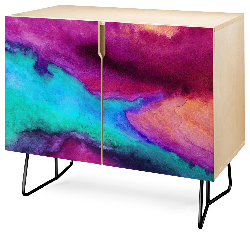 Deny Designs The Tide Credenza, Birch, Black Steel Legs Pertaining To Botanical Harmony Credenzas (View 10 of 20)