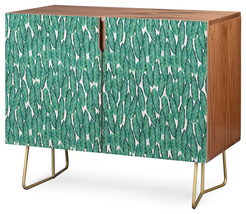 Deny Designs Tropical Serenity Credenza, Walnut, Gold Steel Legs Intended For Mandala Tile Marine Credenzas (View 12 of 20)