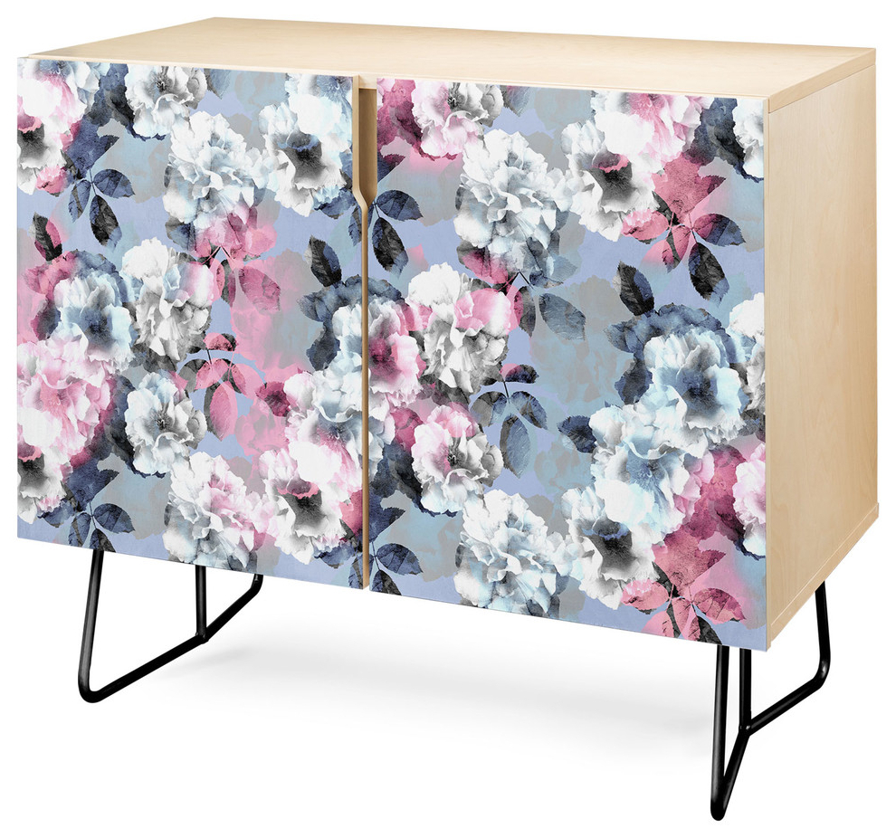 Deny Designs Vintage Floral Theme Credenza, Birch, Black Steel Legs Pertaining To Desert Crystals Theme Credenzas (View 6 of 20)