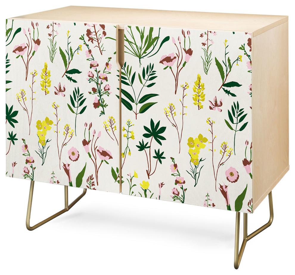 Deny Designs Wildflower Light Credenza, Birch, Gold Steel Legs Regarding Neon Bloom Credenzas (View 5 of 20)