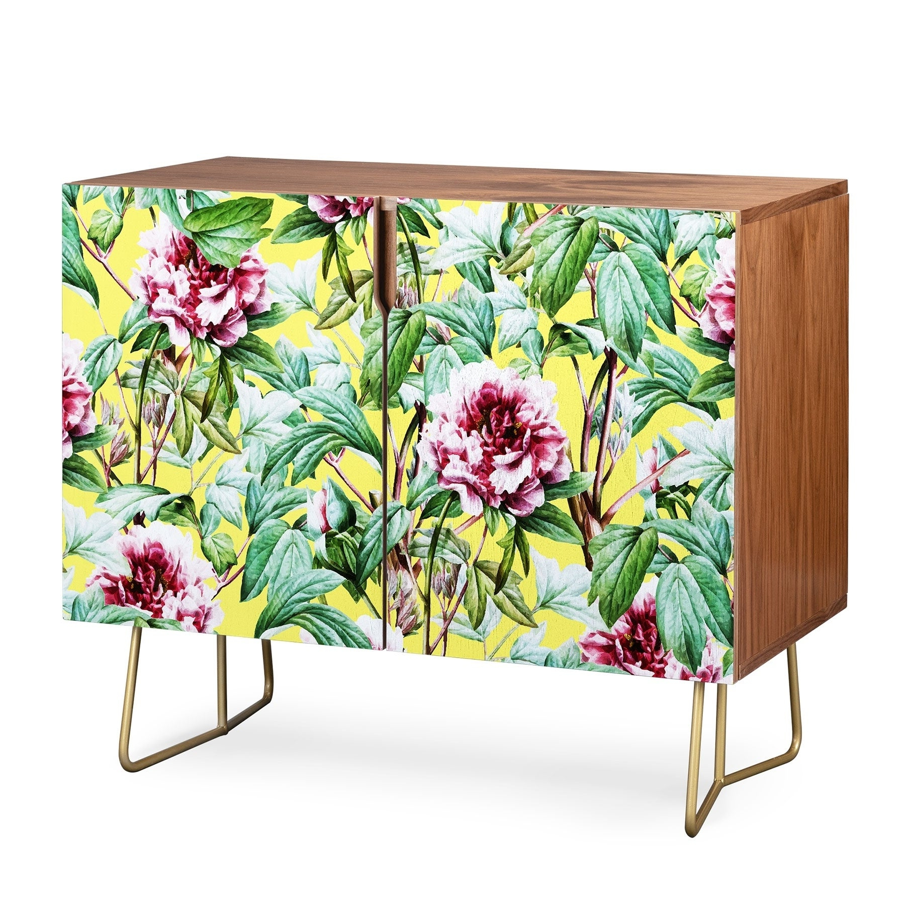 Deny Designs Yellow Flora Credenza (Birch Or Walnut, 2 Leg Options) In Floral Blush Yellow Credenzas (View 13 of 20)