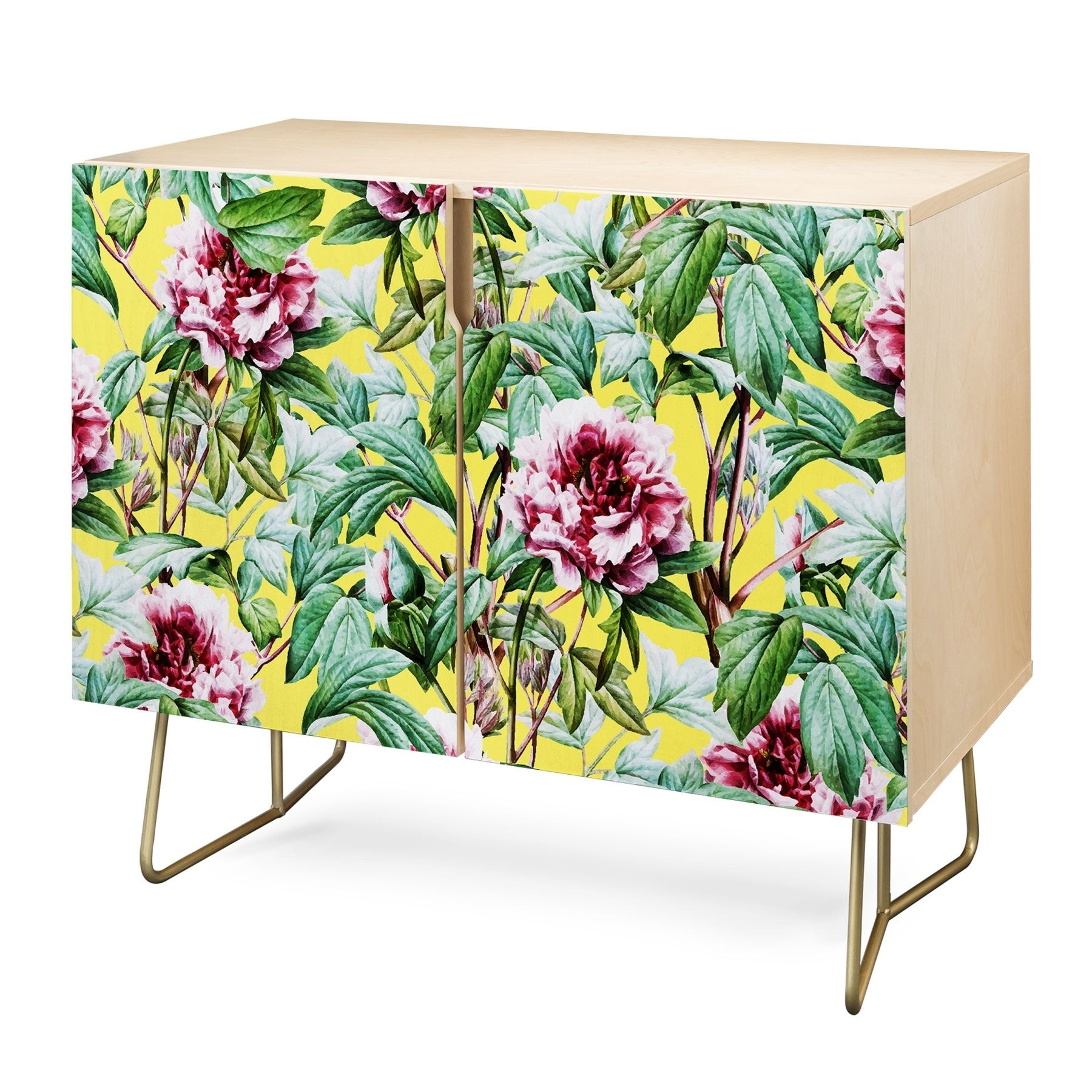 Deny Designs Yellow Flora Credenza (Birch Or Walnut, 2 Leg Options) Throughout Floral Blush Yellow Credenzas (View 5 of 20)