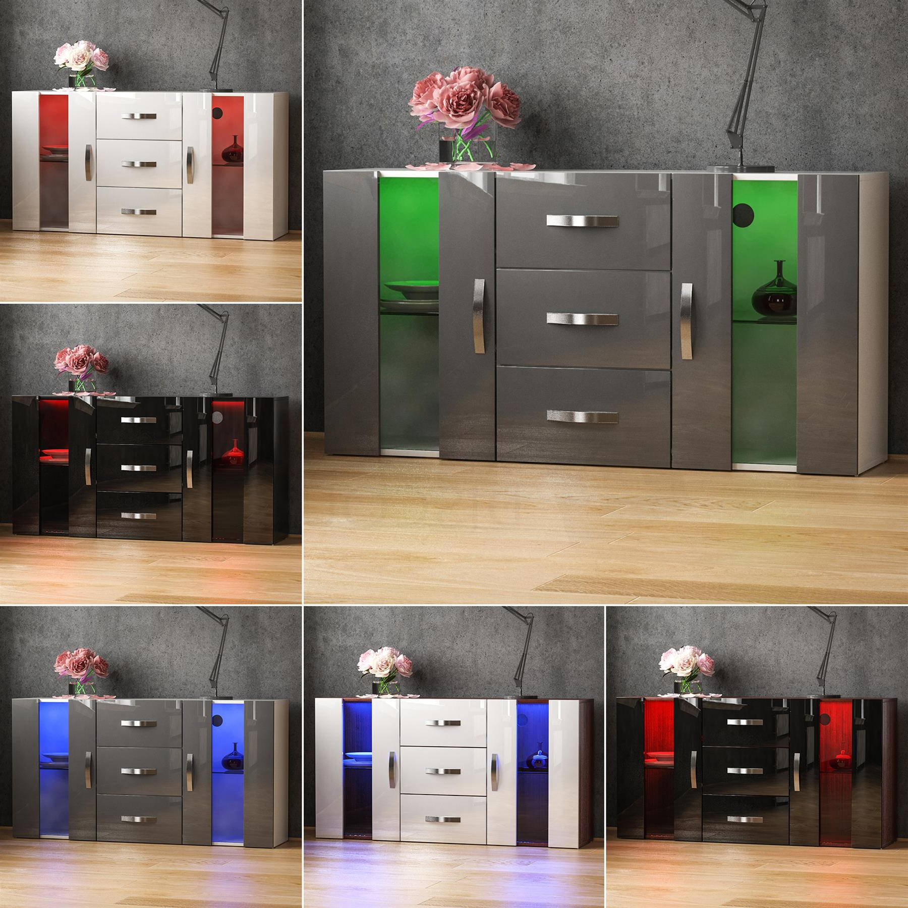 Details About Astro Led Sideboard 2 Door 3 Drawer Buffet Storage Cabinet Cupboard High Gloss For 3 Drawer Storage Buffets (View 7 of 20)