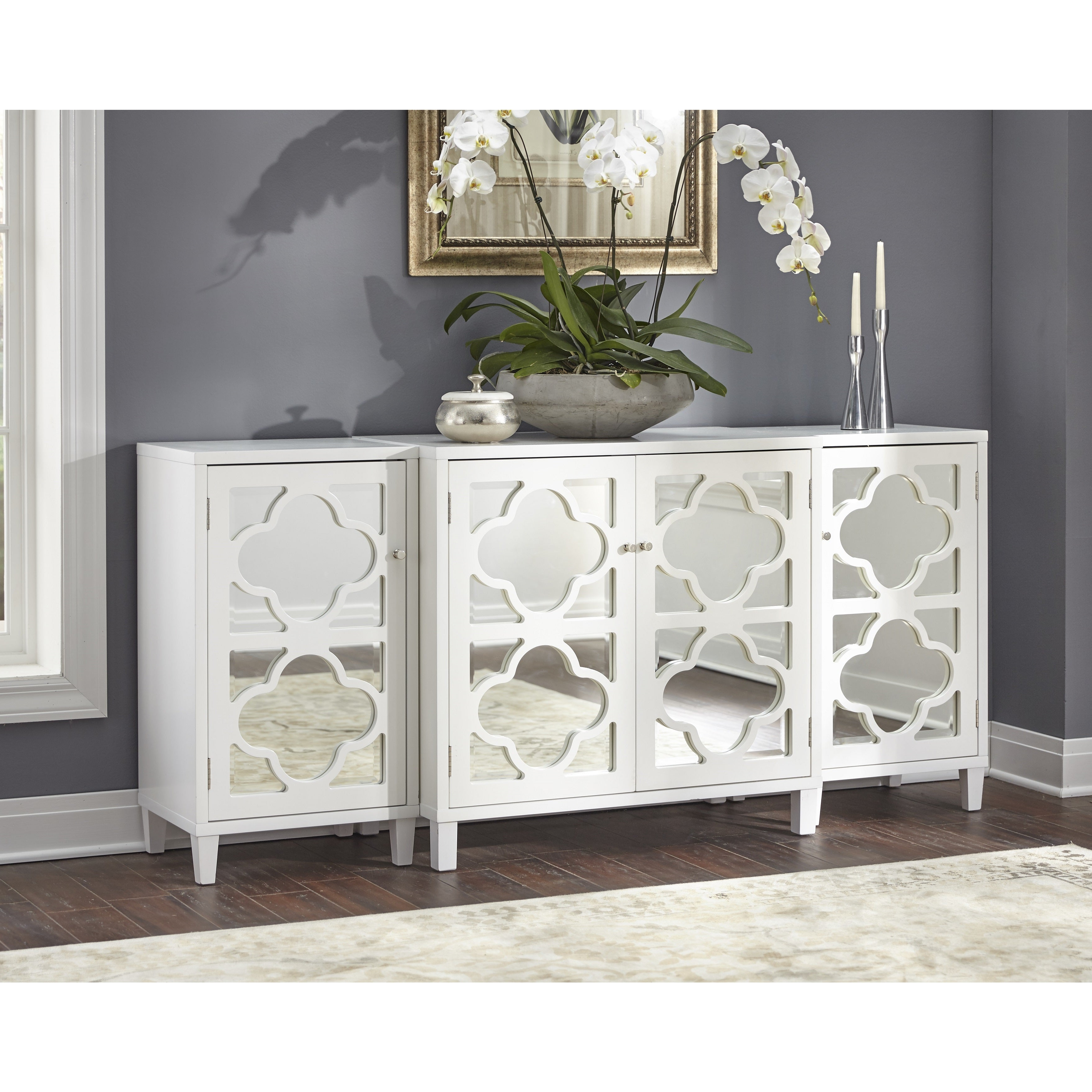 Details About Buffet Storage Cabinet Sideboard Entryway Tv Stand 3 Pcs Set  Mirrored Furniture Throughout Mirrored Double Door Buffets (View 6 of 20)
