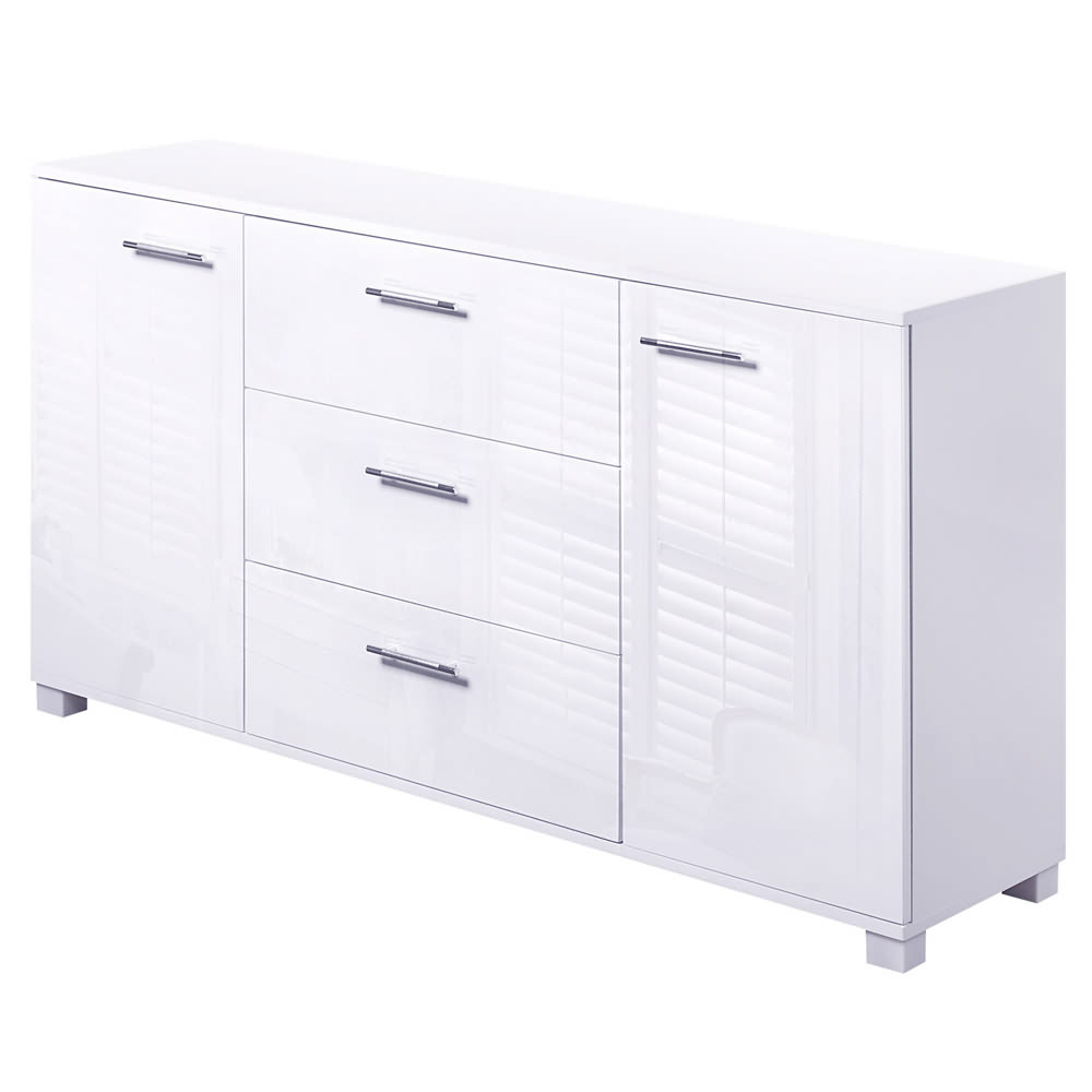 Details About High Gloss Buffet Sideboard Cabinet 2 Door 3 Drawer Storage Cupboard White Inside 3 Drawer Black Storage Buffets (View 12 of 20)