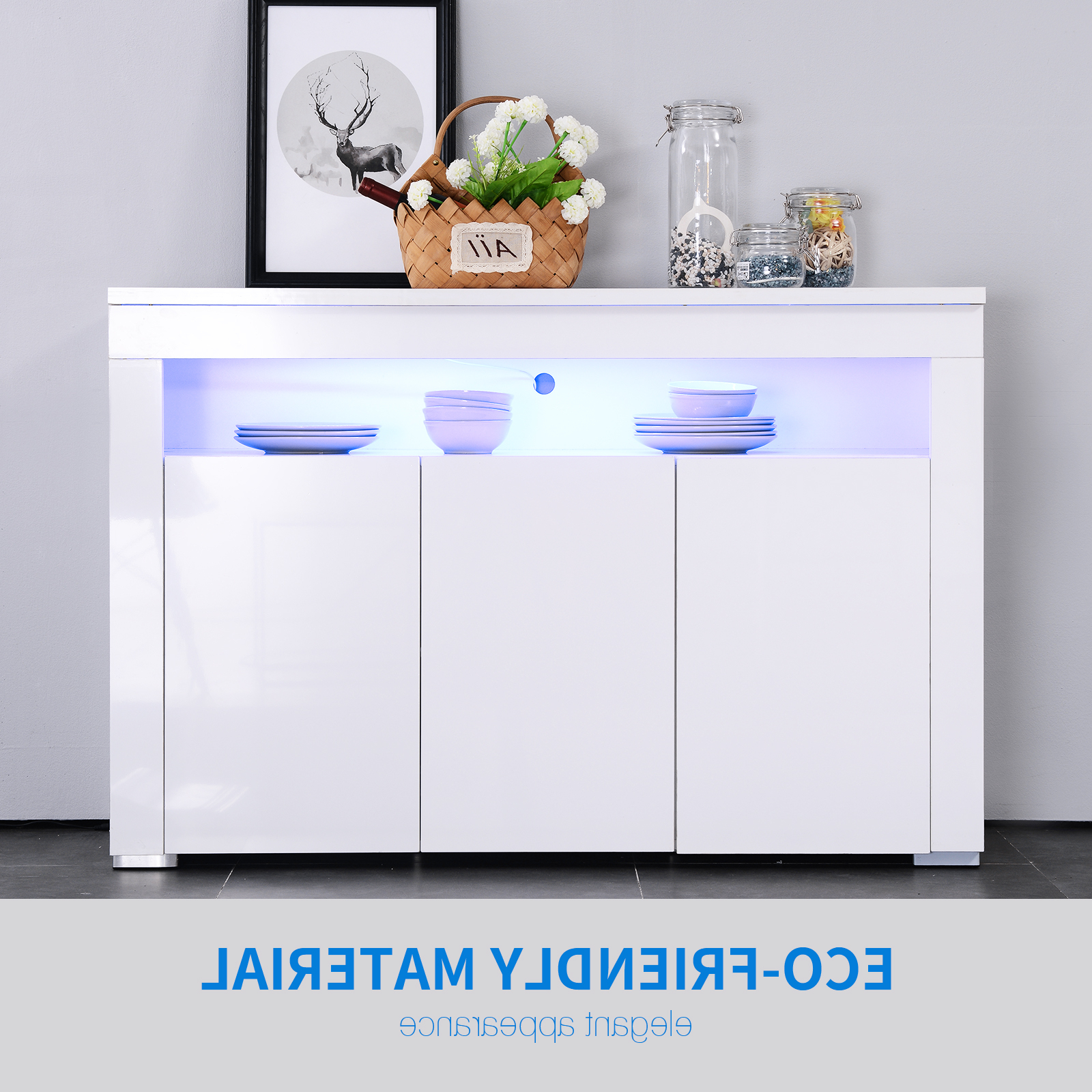 Details About High Gloss White Sideboard Cabinet Cupboard Buffet Storage Unit With Led Light Within White Wood And Chrome Metal High Gloss Buffets (View 10 of 20)