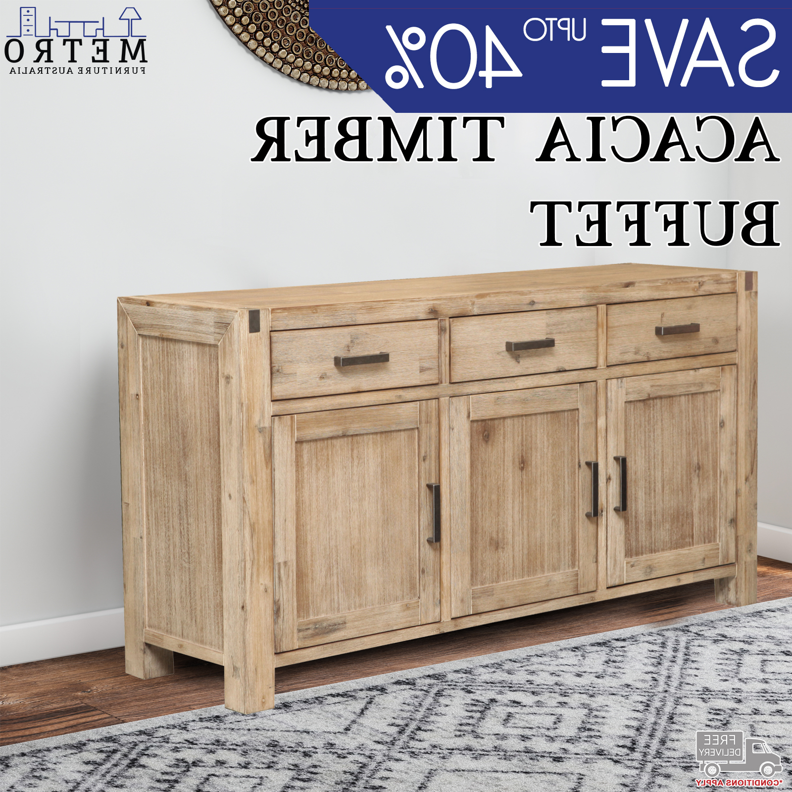 Details About High Quality 3 Drawer 3 Cabinet Storage Acacia Timber Buffet  Sideboard Espresso Inside 3 Drawer Storage Buffets (View 9 of 20)
