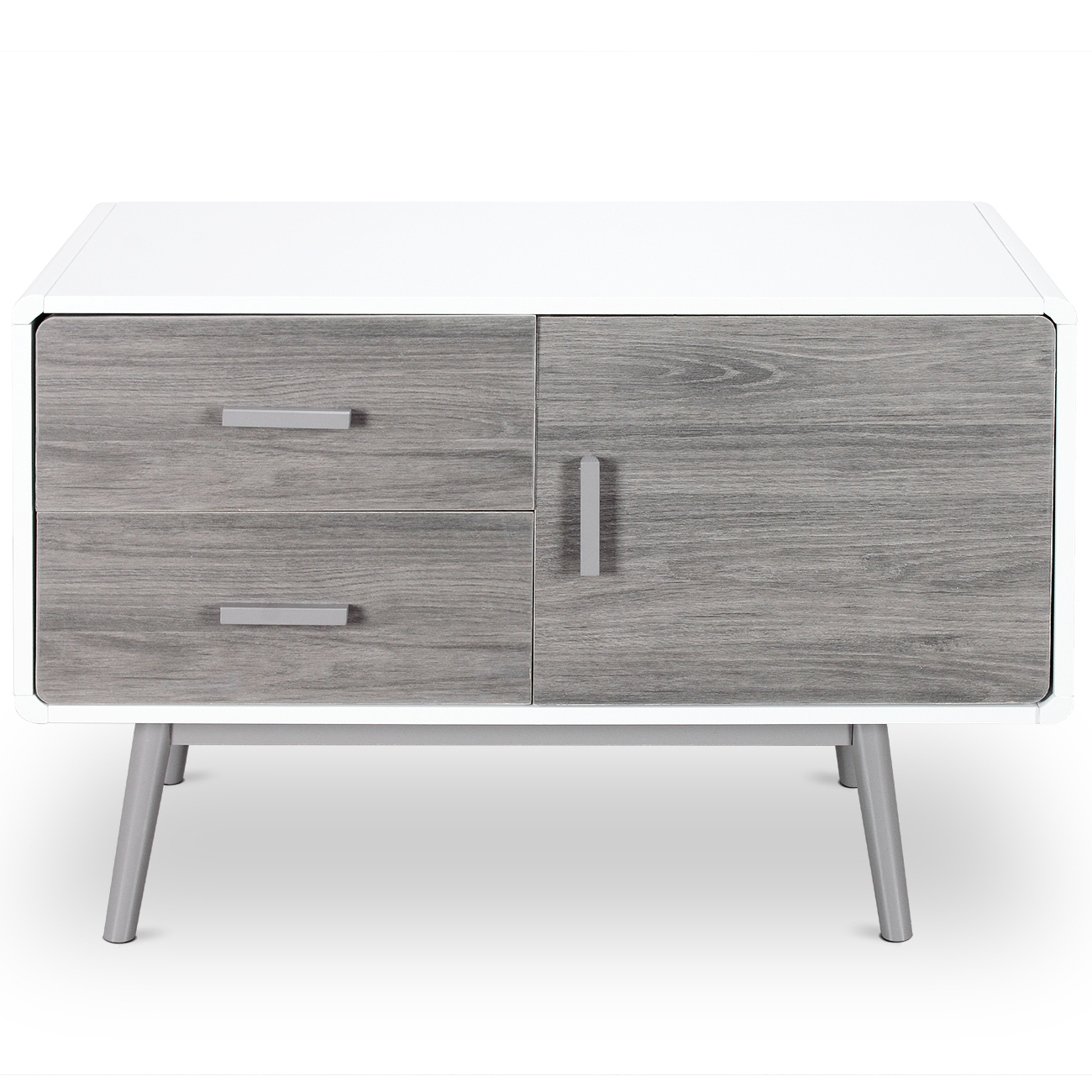 Details About Mid Century Modern Buffet Sideboard Stand With 2 Drawers 1  Cabinet In White Regarding Mid Century Modern Glossy White Buffets (View 4 of 20)