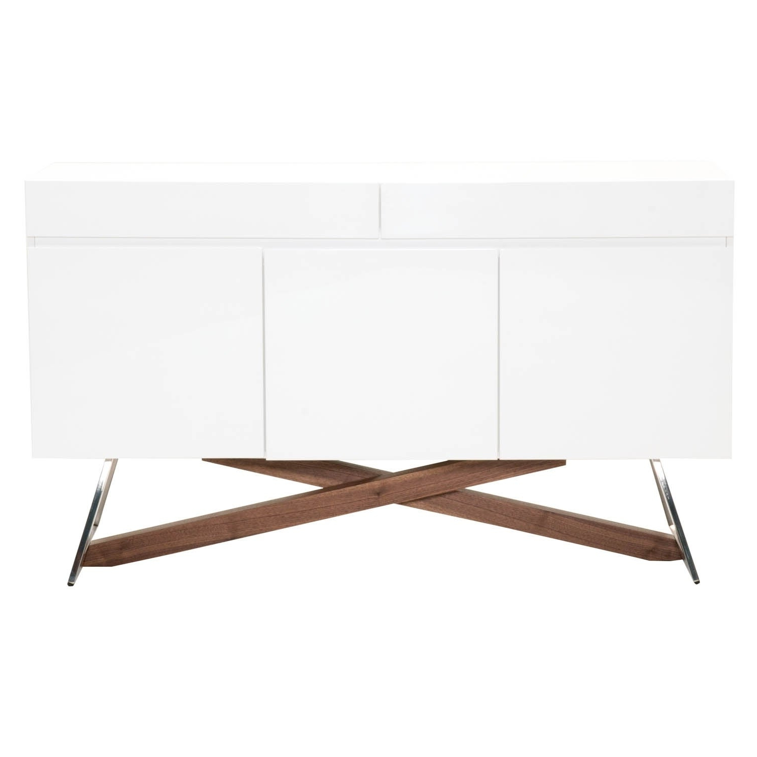 Details About Mid Century Modern Buffet With Wooden Base Glossy White And  White Regarding Mid Century White Buffets (View 4 of 20)