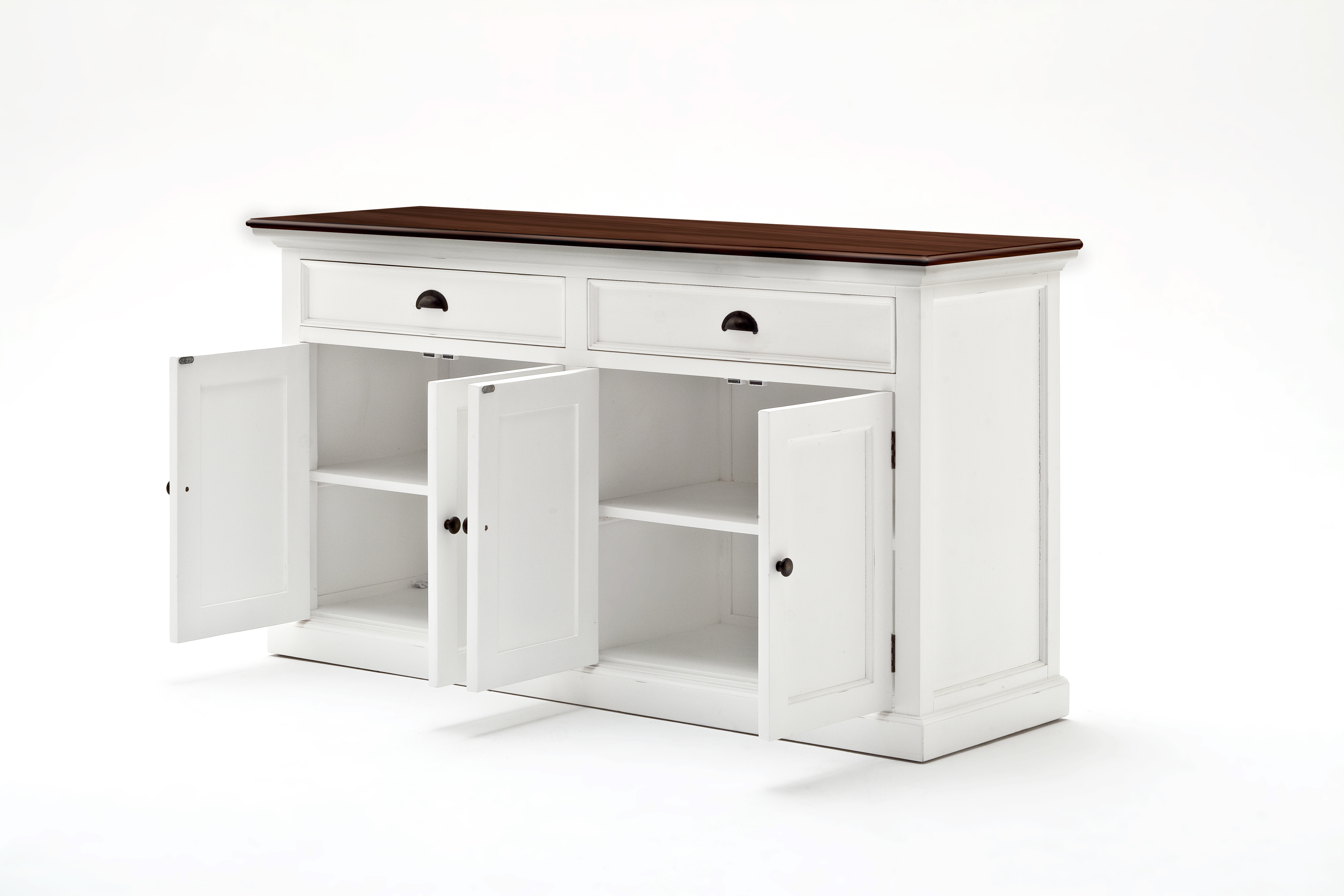 Details About Nova Solo Halifax Accent Solid Wood White & Mahogany Top Buffet With 2 Drawers For Grey Wooden Accent Buffets (View 15 of 20)