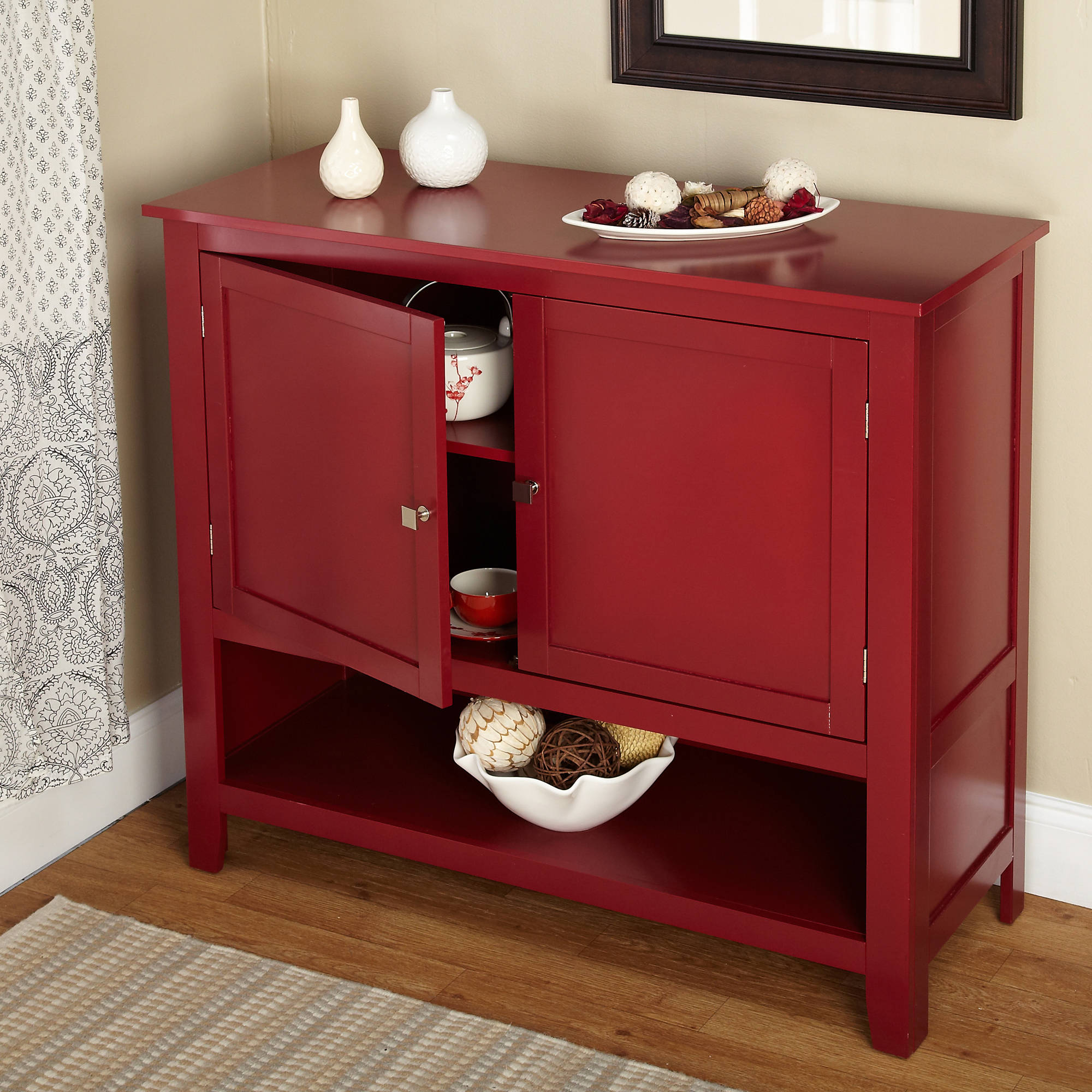 Details About Red Buffet Cabinet Kitchen Storage Shelf With Doors Table  Furniture Dining Room Within Contemporary Wooden Buffets With One Side Door Storage Cabinets And Two Drawers (View 3 of 20)