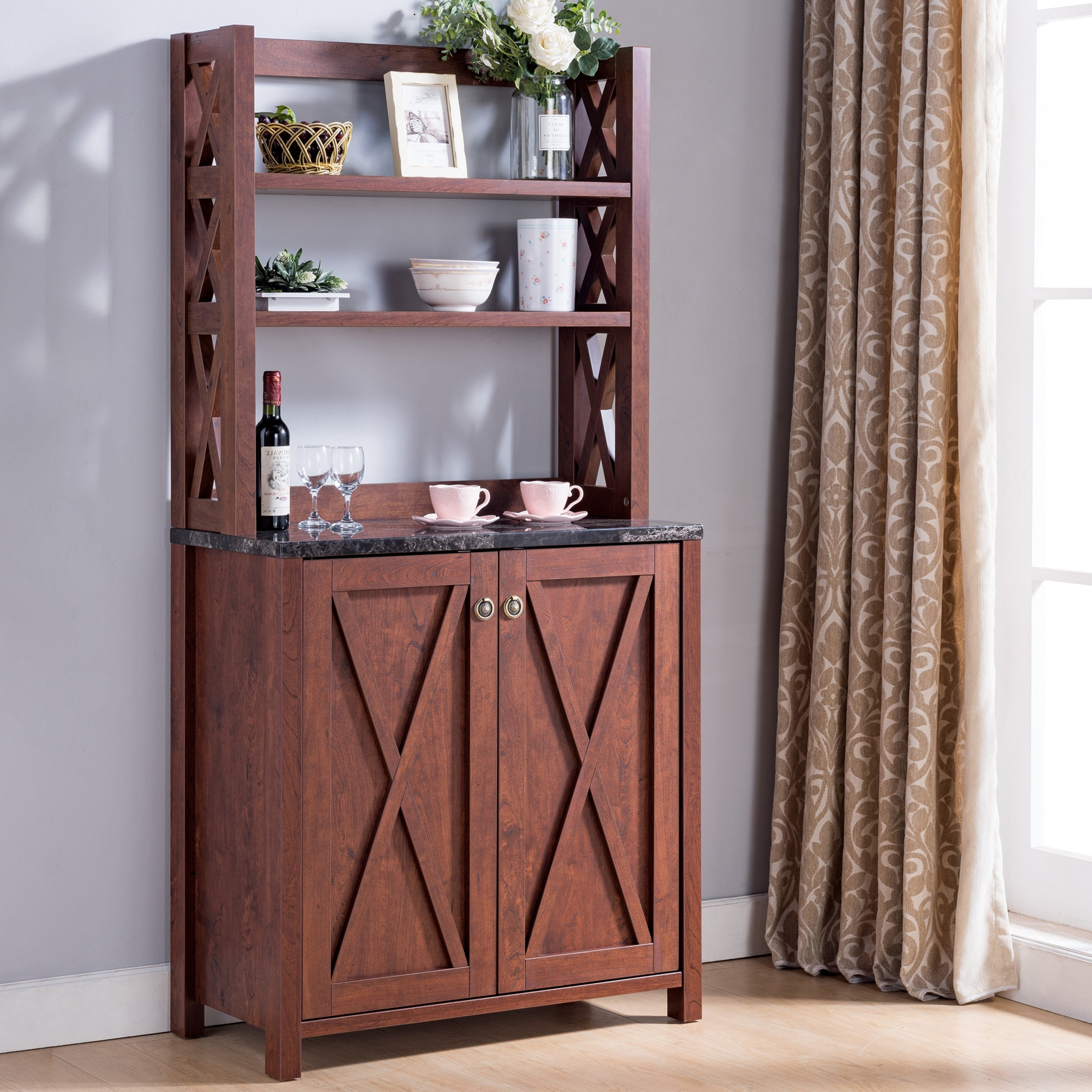 Details About Senna Rustic Farmhouse Kitchen Storage Hutchfoa Vintage Walnut Within Saucedo Rustic White Buffets (View 8 of 20)