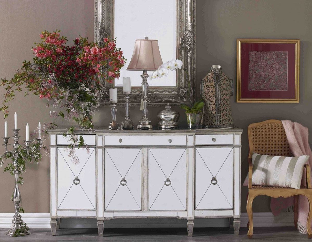 Details About Sofia Mirrored Buffet Table Antique Ds  41102 – New Regarding Mirrored Buffets (View 5 of 20)