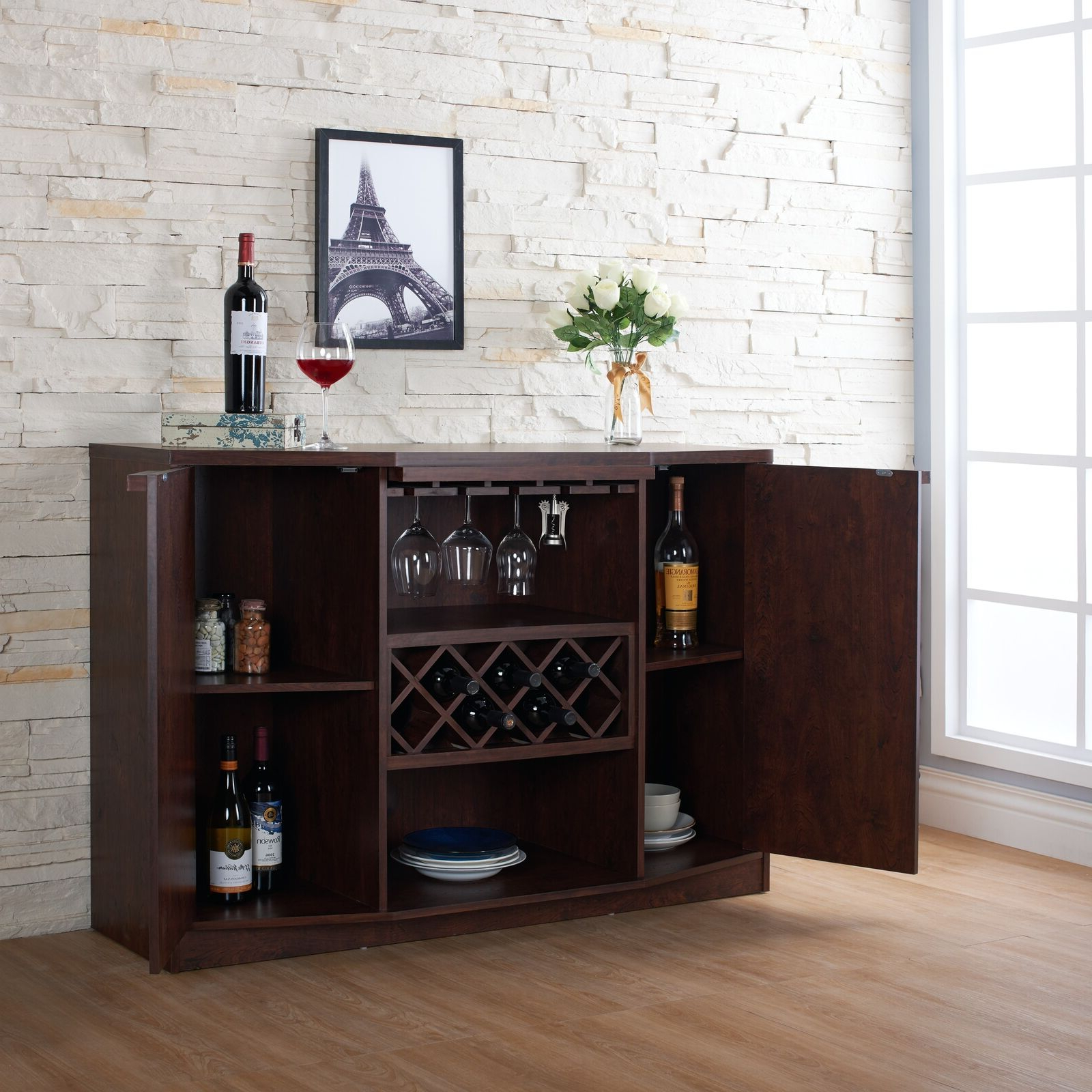Details About Wine Bar Buffet Cabinet Bottle Rack Wood Storage Hutch  Furniture Walnut Brown With Regard To Buffets With Bottle And Glass Storage (View 6 of 20)