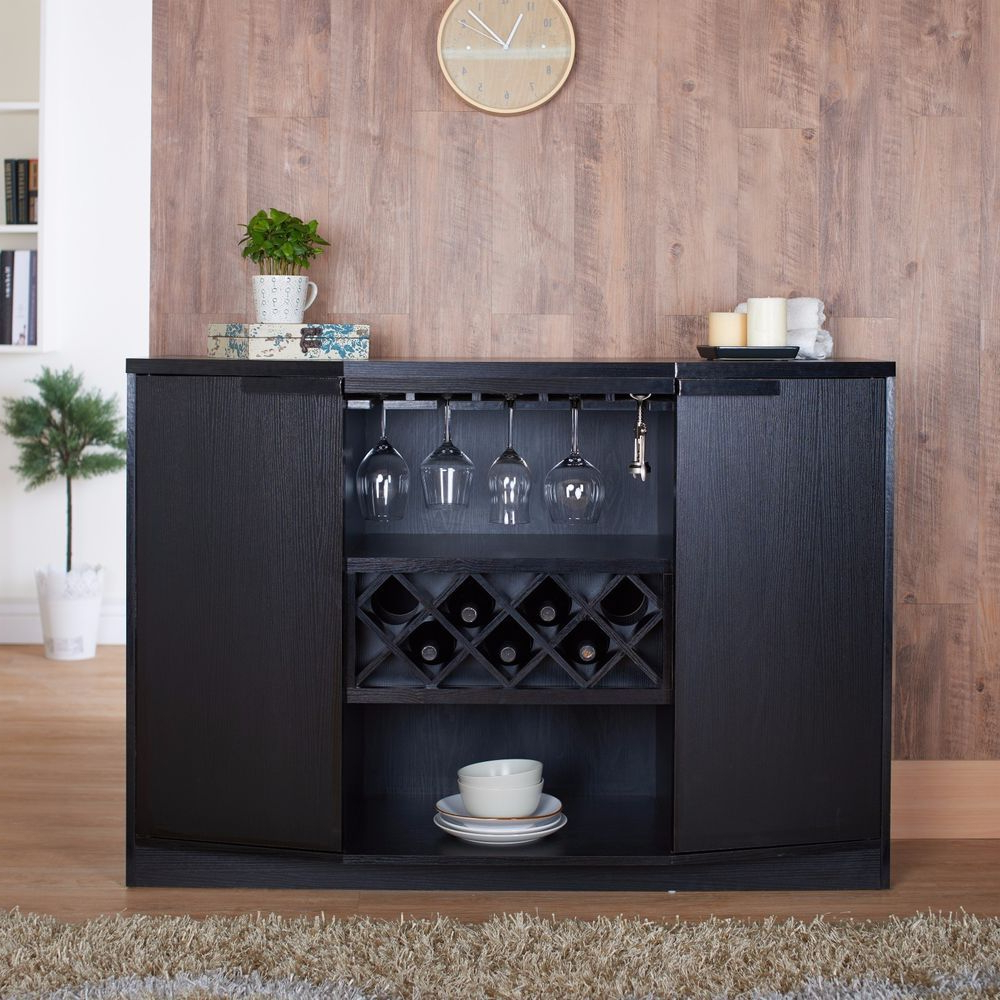 Details About Wine Storage Cabinet Rack Bar Kitchen Home Bar Throughout Modern Black Storage Buffets (View 12 of 20)