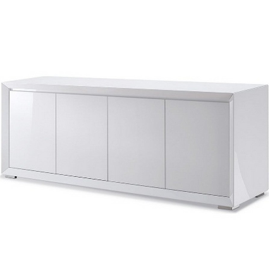 Dining Room Furniture Sb1395 Wht Pendenza Buffet, 4 Door Mdf In High Gloss White And Polished Stainless Steel Body, With Matte Behind Doors Intended For White Wood And Chrome Metal High Gloss Buffets (View 16 of 20)