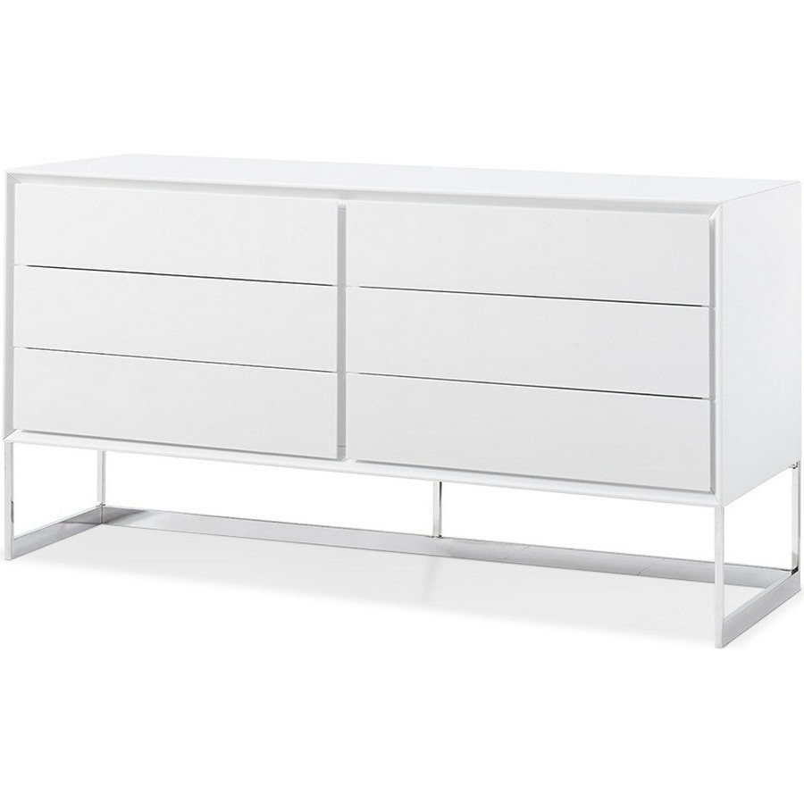 Dining Room Furniture Sb1405 Wht Skylar Buffet, High Gloss White, Polished  Stainless Steel Legswhiteline Selections Within White Wood And Chrome Metal High Gloss Buffets (View 10 of 20)