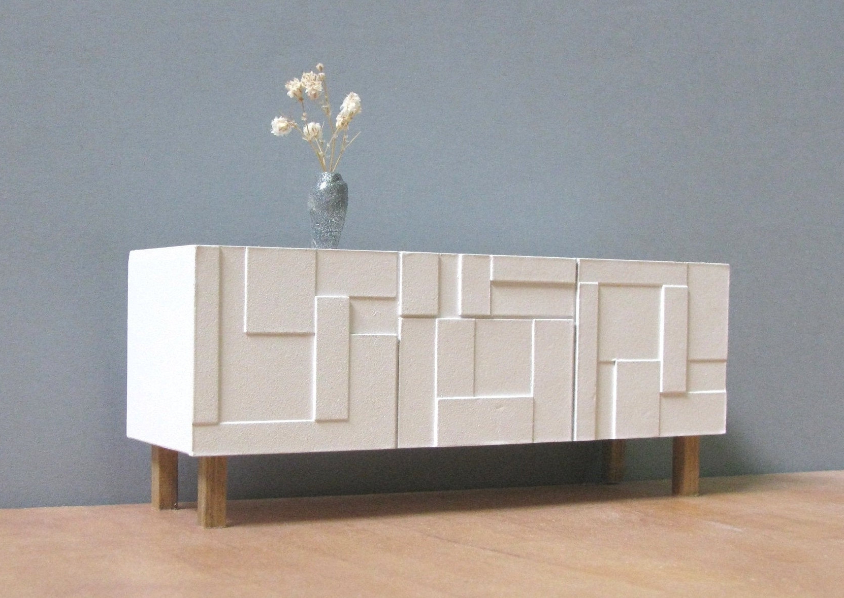 Dollhouse White Sideboard / Credenza, 1/18 1/12 Scale, Handmade Collectable Miniature Furniture, Modern Style Decor, Contemporary Design Throughout Floral Beauty Credenzas (View 20 of 20)