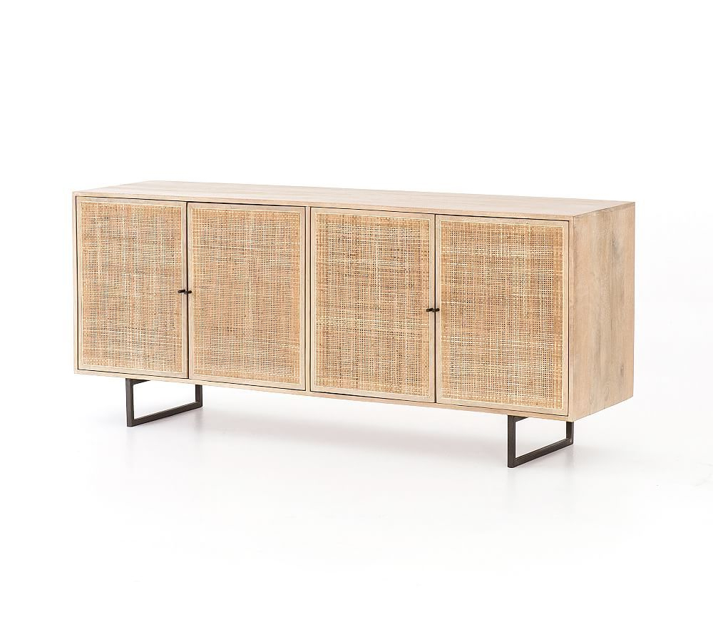 Dolores Cane Buffet Cabinet, Natural | Products In 2019 Within Contemporary Wooden Buffets With Four Open Compartments And Metal Tapered Legs (View 9 of 20)