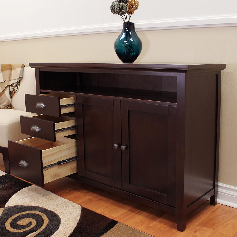Donnieann Lindendale Espresso Sofa/buffet Table 707152 – The Inside Espresso Wood Multi Use Buffets (View 5 of 20)