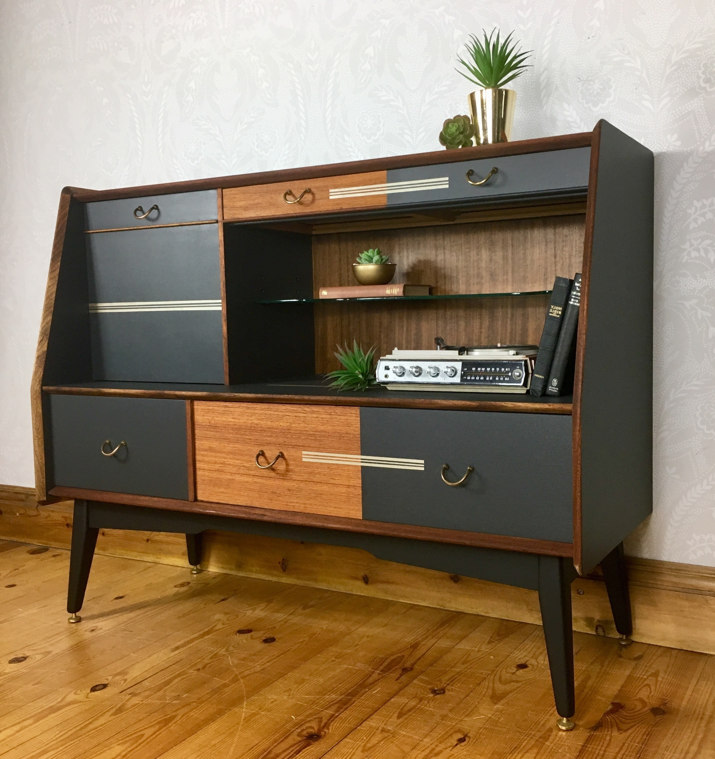 Drinks Cabinet, G Plan E Gomme, Sideboard, Cocktail Cabinet, 1960's Mid Century Dark Grey, Vintage Retro Painted Furniture, G Plan In Mid Century Brown And Grey Sideboards (View 17 of 20)