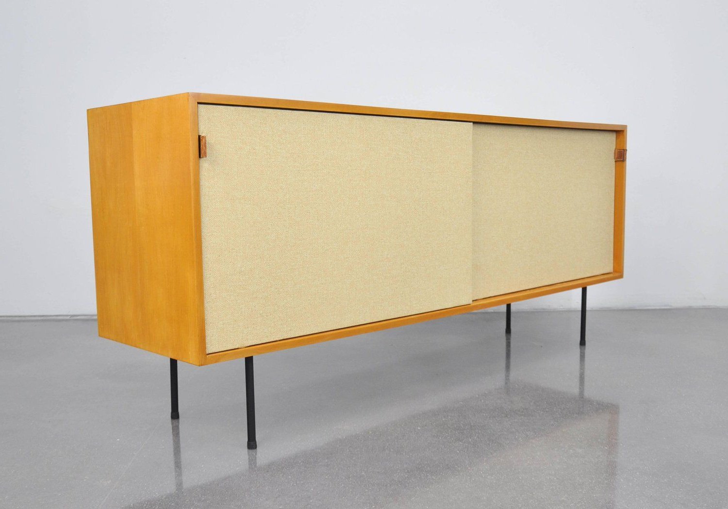 Early Florence Knoll Maple And Seagrass Credenza | Diy Throughout Yellow Flora Credenzas (View 16 of 20)