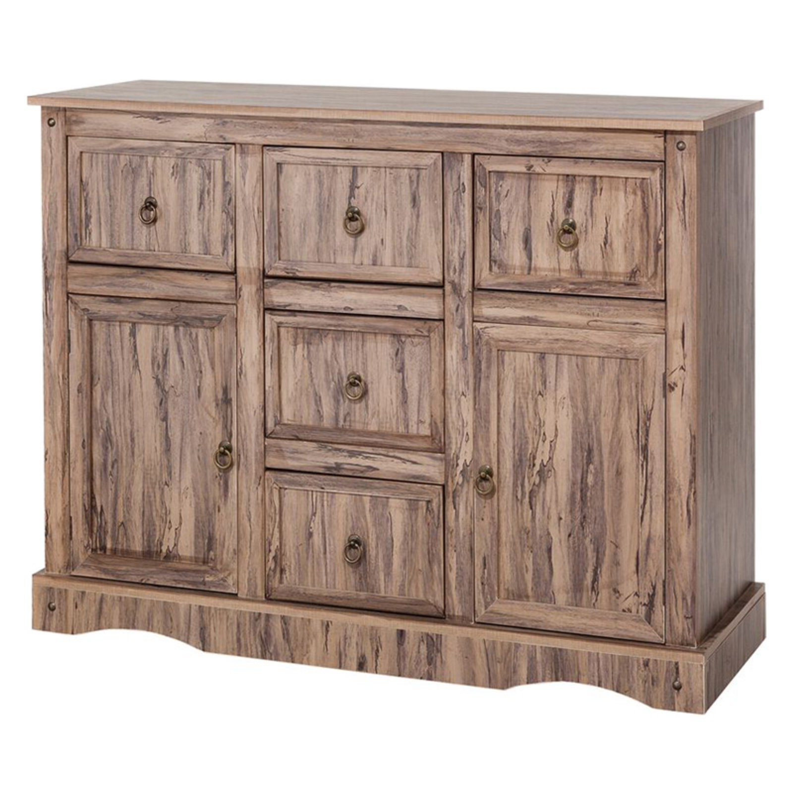 Elegant Home Fashions Simplicity 5 Drawer Buffet – Walmart With Regard To 3 Drawer Titanium Buffets (View 6 of 20)