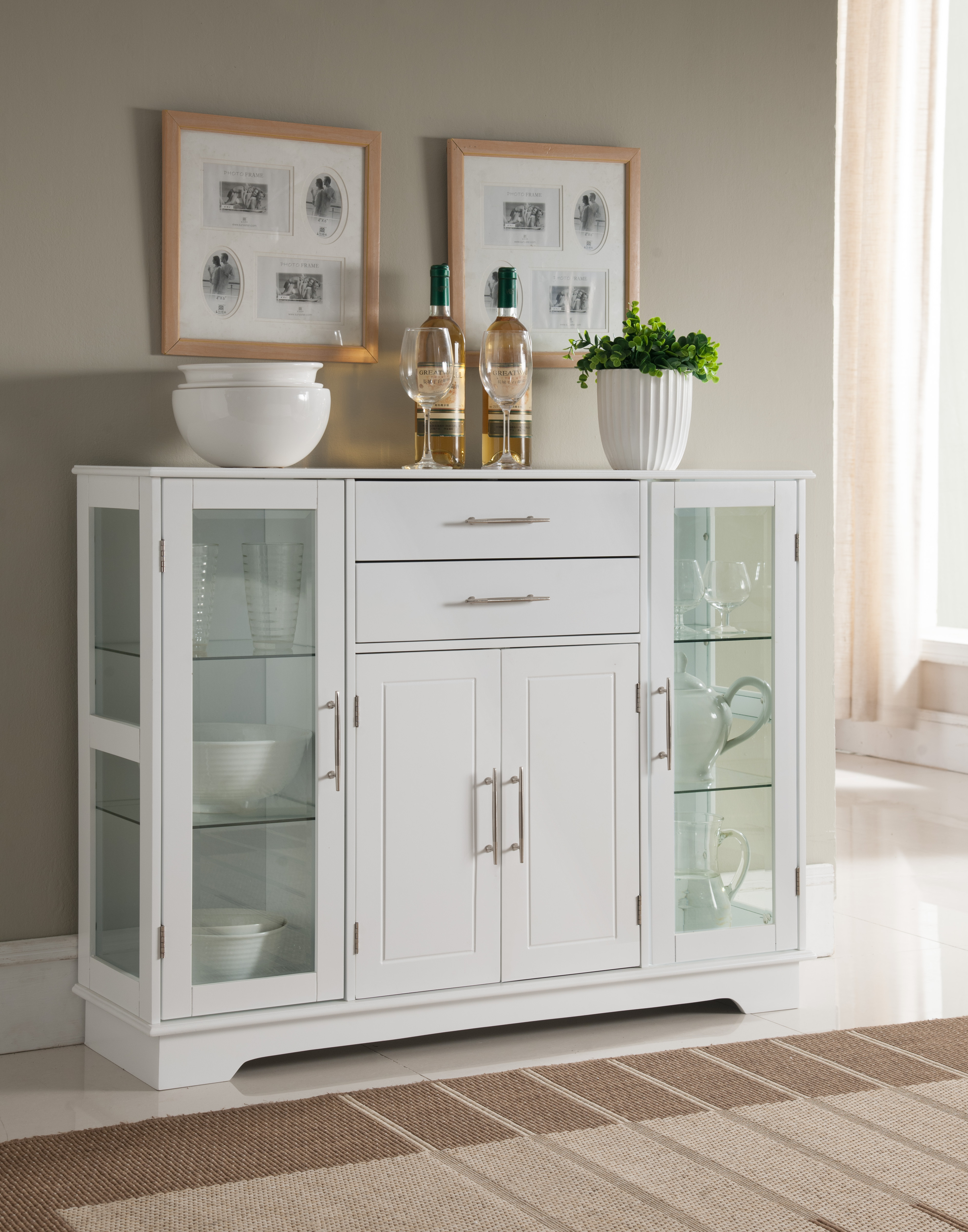 Elias White Wood Contemporary Kitchen Buffet Display China Cabinet With  Storage Drawers & Glass Doors In Contemporary Wooden Buffets With One Side Door Storage Cabinets And Two Drawers (View 4 of 20)