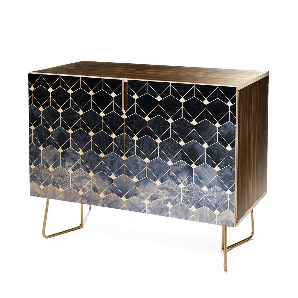 Elisabeth Fredriksson Blue Hexagons And Diamonds Credenza In Inside Blue Hexagons And Diamonds Credenzas (Gallery 1 of 20)