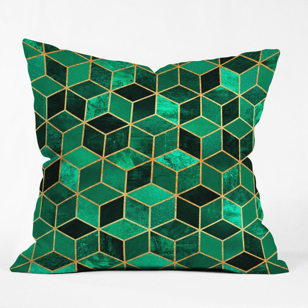 Elisabeth Fredriksson Emerald Cubes Outdoor Throw Pillow Inside Emerald Cubes Credenzas (View 13 of 20)