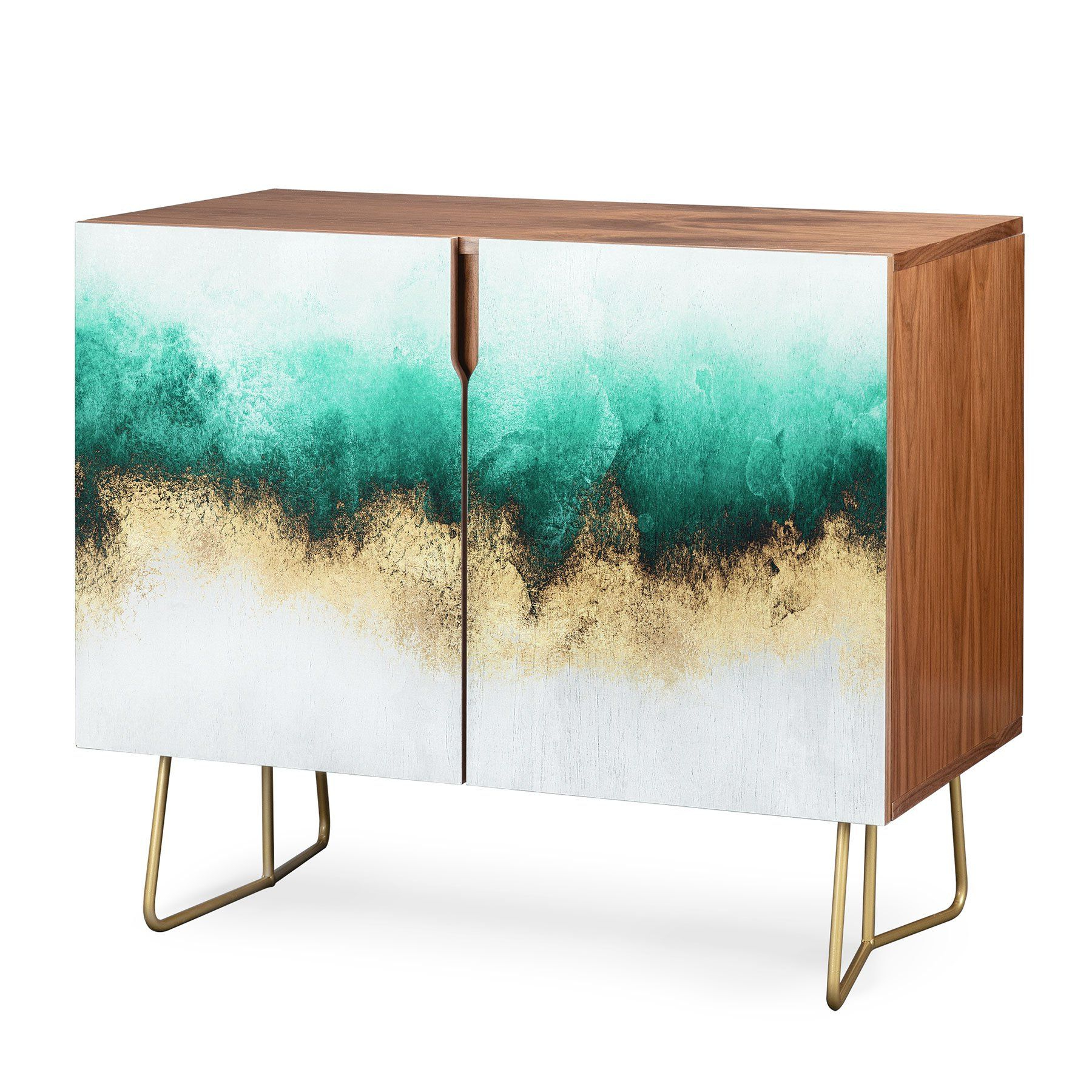 Elisabeth Fredriksson Green And Gold Sky Credenza In 2019 Pertaining To Turquoise Skies Credenzas (View 3 of 20)