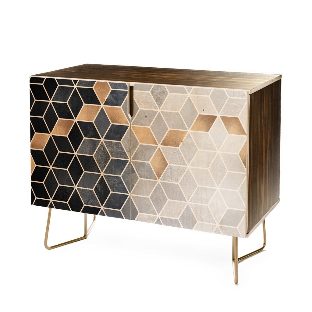 Elisabeth Fredriksson Soft Blue Gradient Cubes Credenza In Intended For Blue Hexagons And Diamonds Credenzas (View 18 of 20)