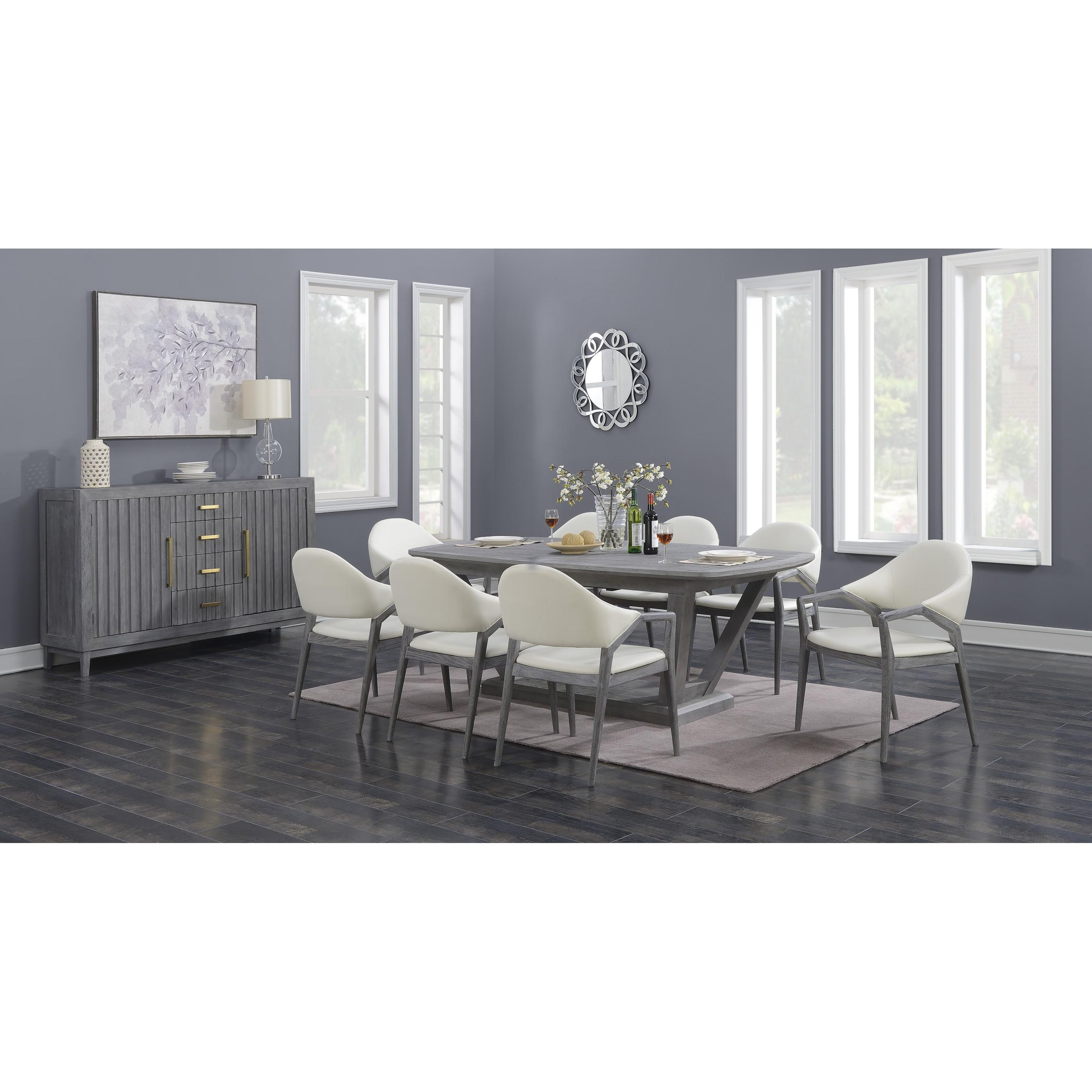 Emerald Home Carrera Gray Modern 7Pc Dining Room Set Within Carrera Contemporary Black Dining Buffets (View 8 of 20)