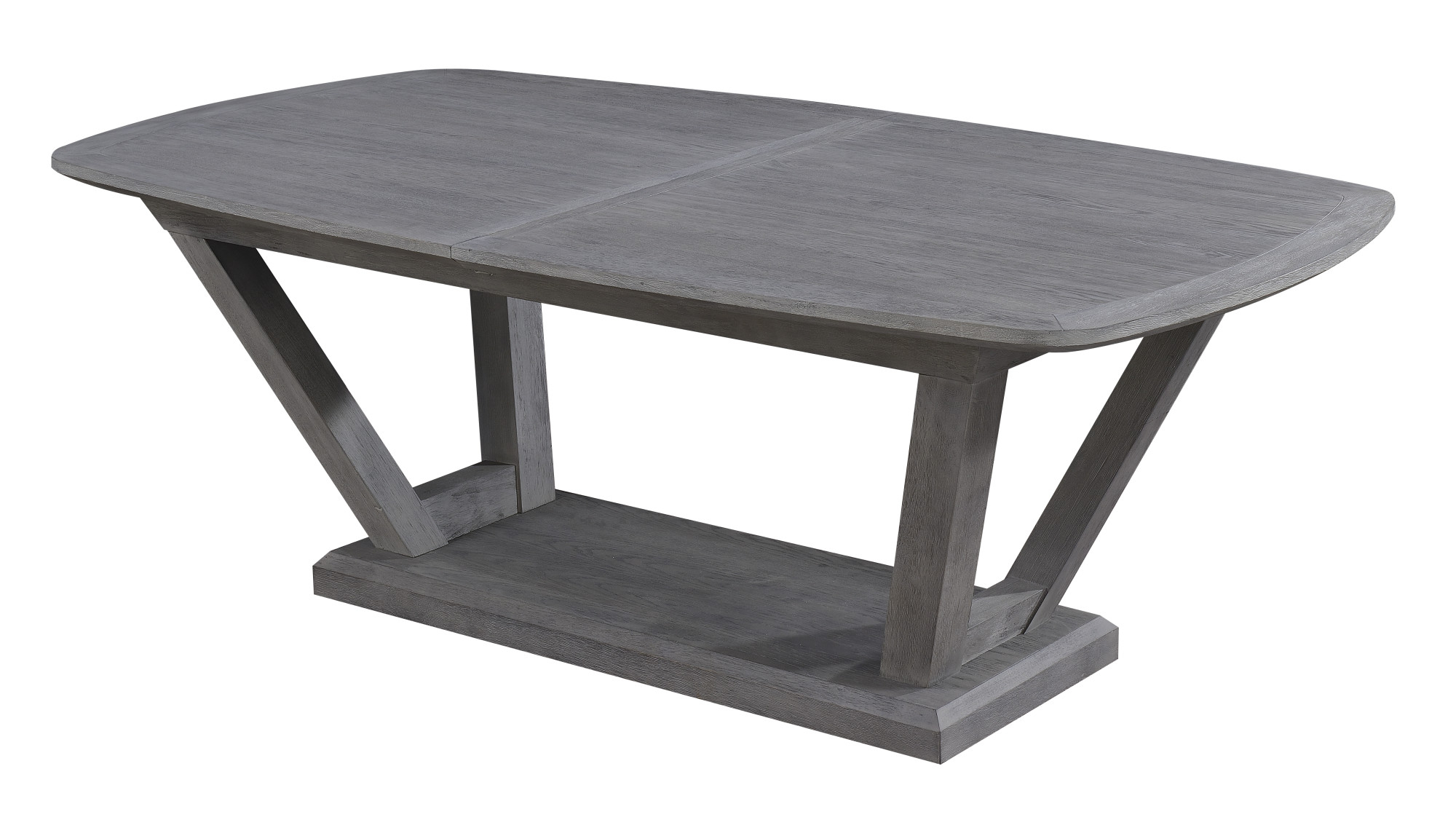 "Emerald Home Carrera Slate Gray 84"" Dining Table With Self Storing  Butterfly Leaf And Timber Vee Base Throughout Carrera Contemporary Black Dining Buffets (Gallery 16 of 20)"