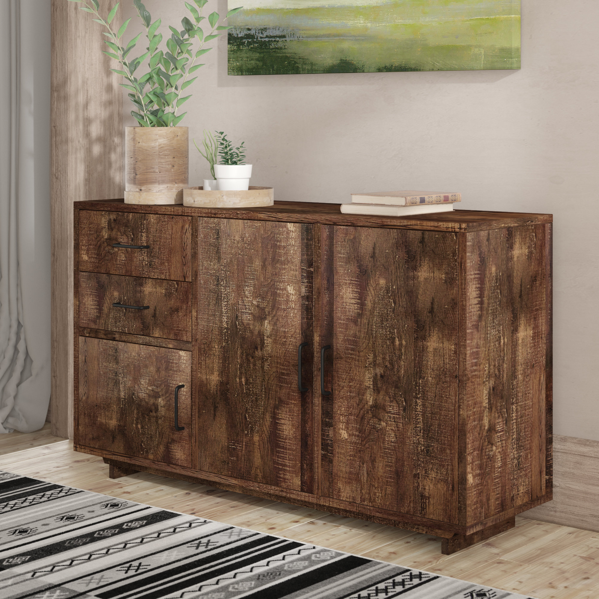 Entryway Buffet | Wayfair Intended For Industrial Cement Like Multi Storage Dining Buffets (Gallery 20 of 20)