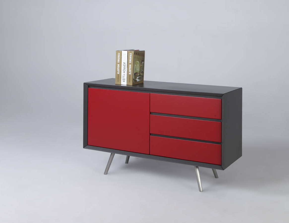 Esther Modern Grey Red Wood Buffet W/ Stainless Steel Legs Within Modern Red Buffets (Gallery 4 of 20)