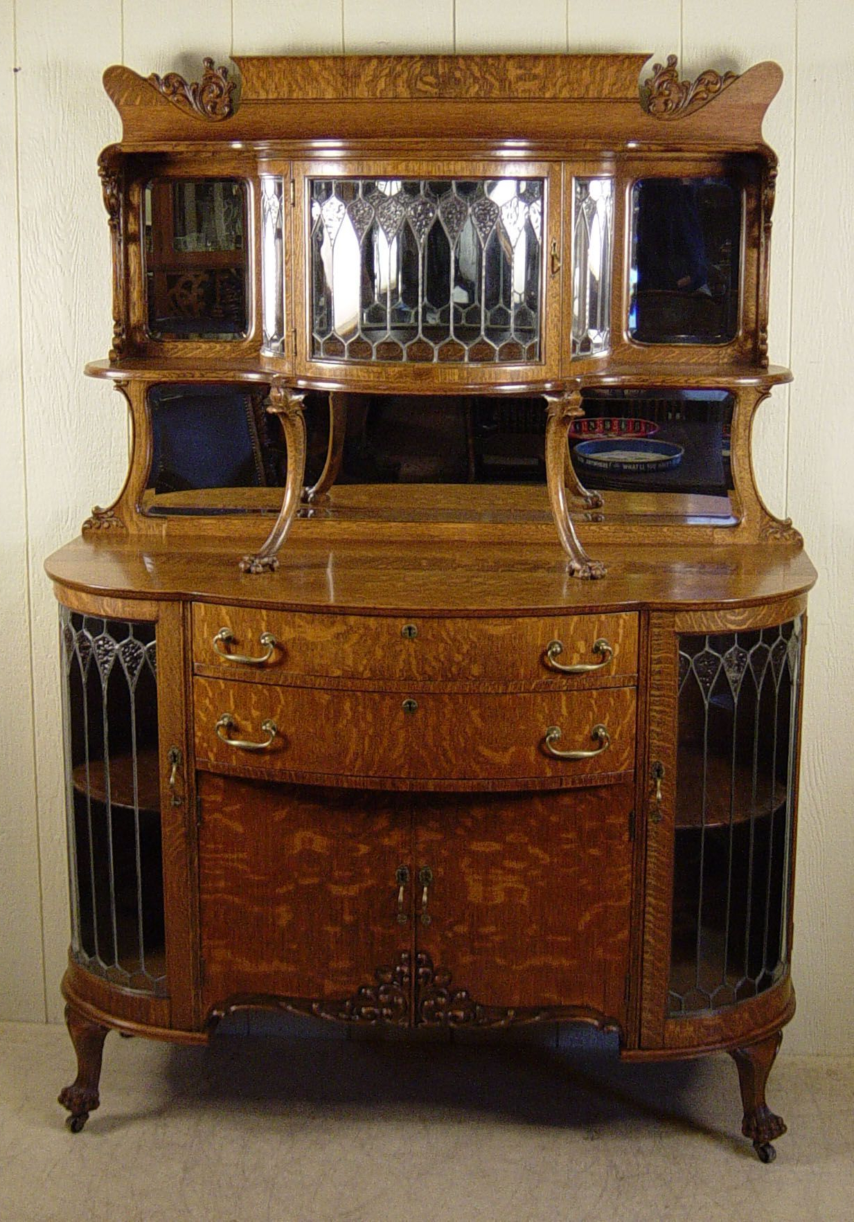 Exceptional Oak Curio Buffet With Curved Leaded Glass For Wooden Curio Buffets With Two Glass Doors (Gallery 9 of 20)