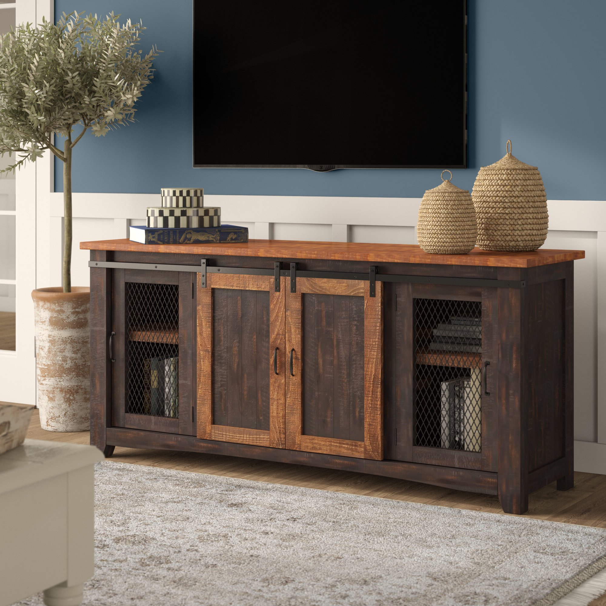 Farmhouse & Rustic Tv Stands | Birch Lane Pertaining To Madison Park Rachel Grey Media Credenzas (View 1 of 20)