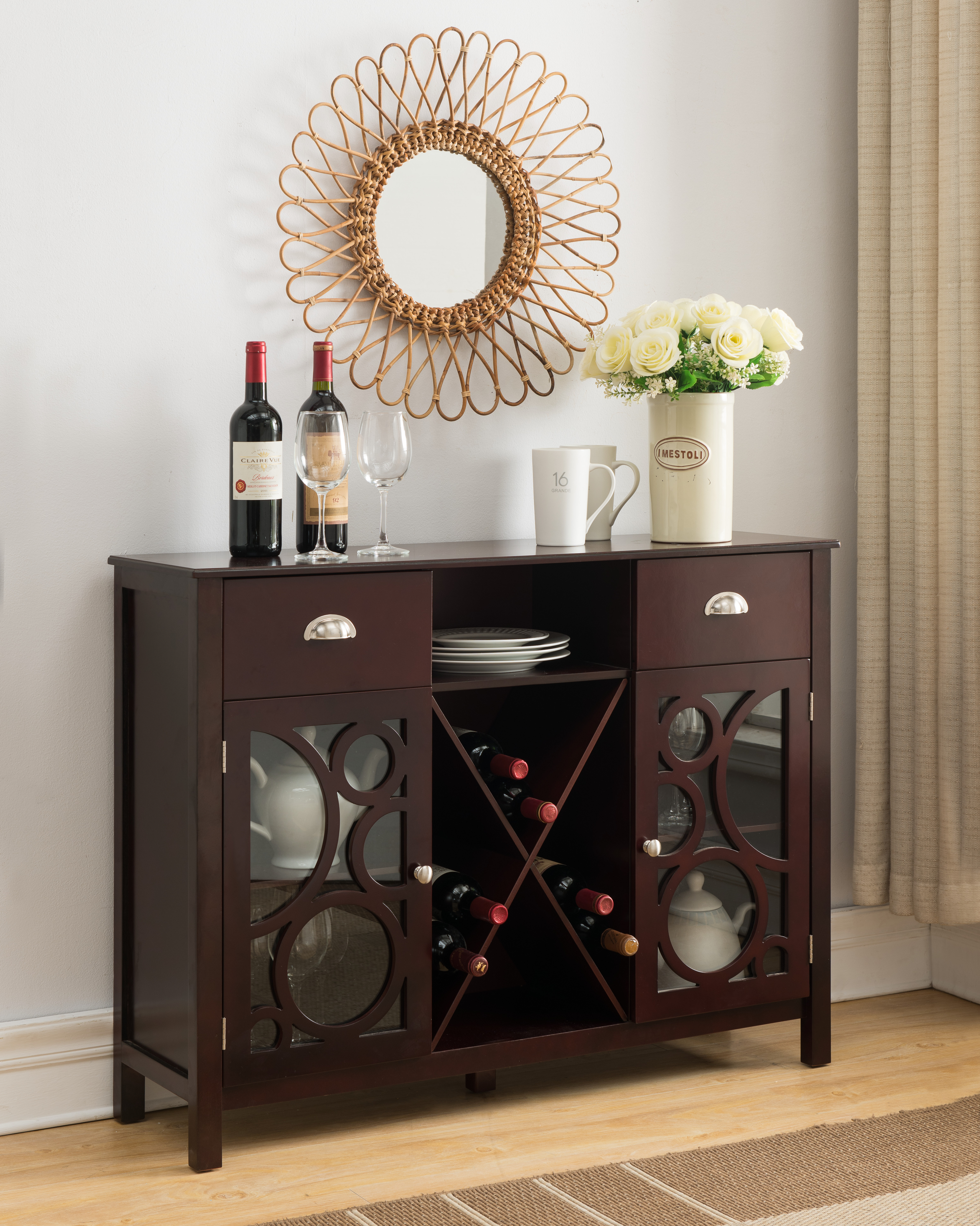 Finn Dark Cherry Wood Contemporary Wine Rack Sideboard Buffet Display  Console Table With Storage Drawers, Glass Cabinet Doors & Shelf For Buffets With Cherry Finish (View 17 of 20)