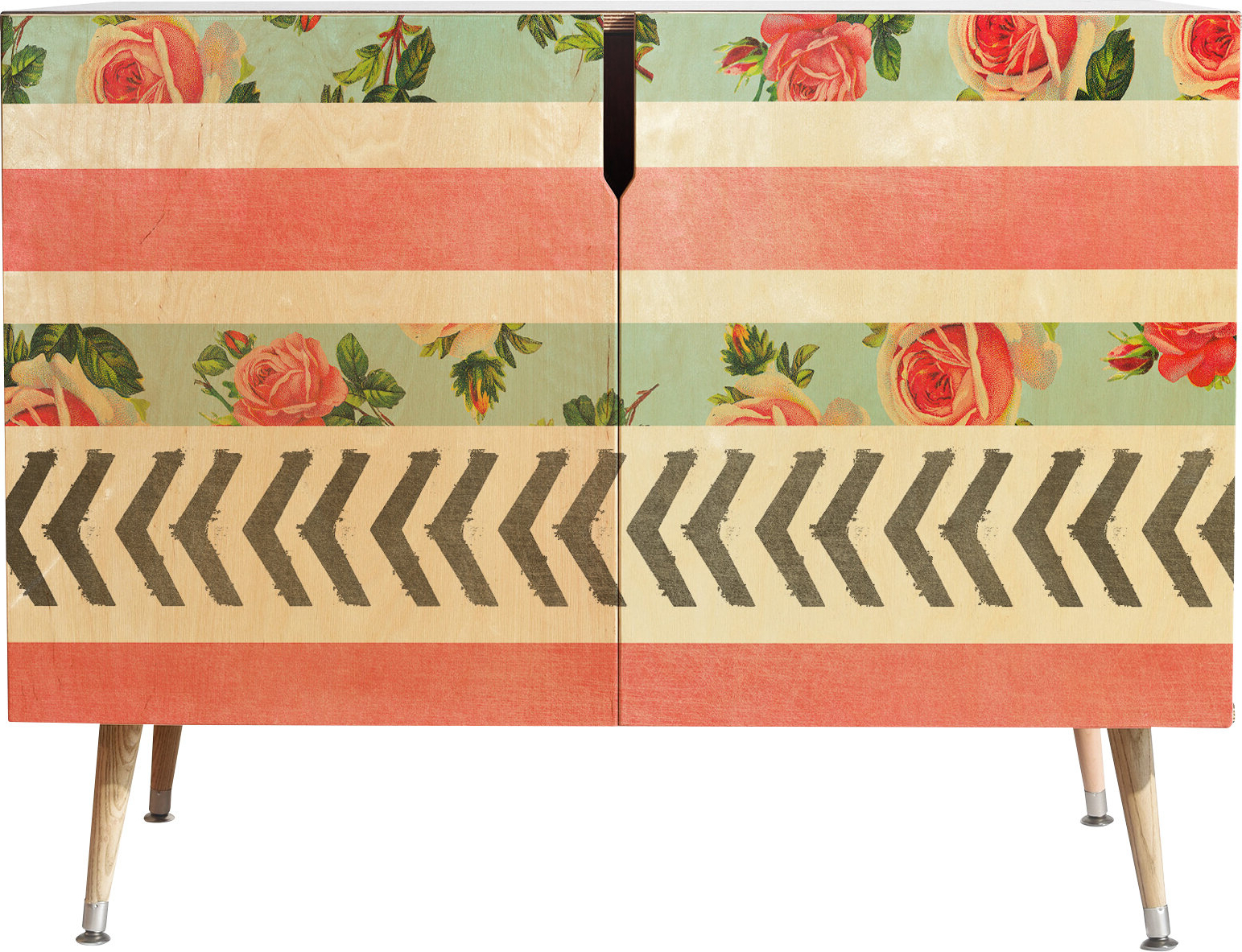 Floral Stripes And Arrows 2 Door Accent Cabinet Inside Floral Blush Yellow Credenzas (View 12 of 20)