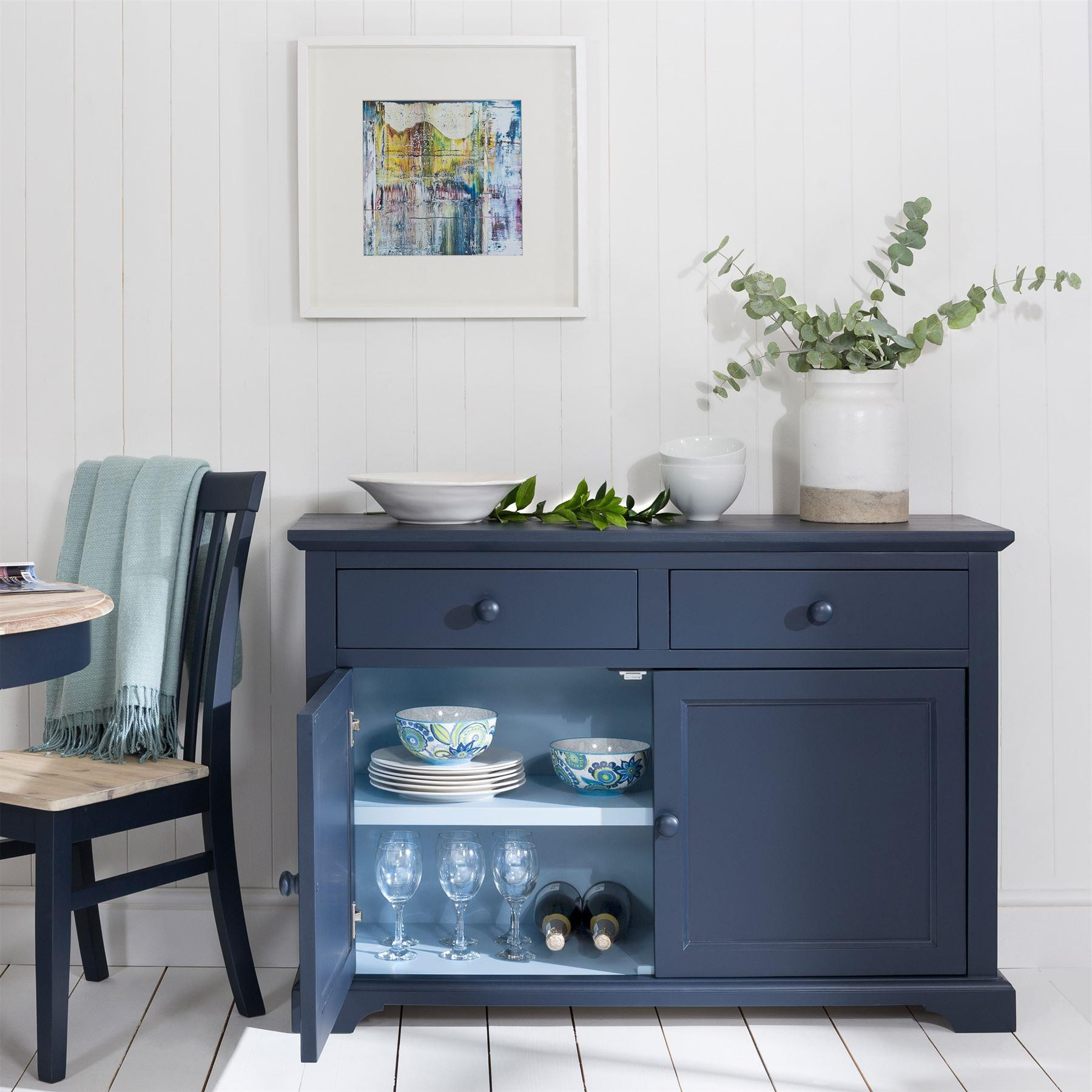 Florence 2 Tone Navy Blue Sideboard In Light White Oak Two Tone Modern Buffets (View 7 of 20)
