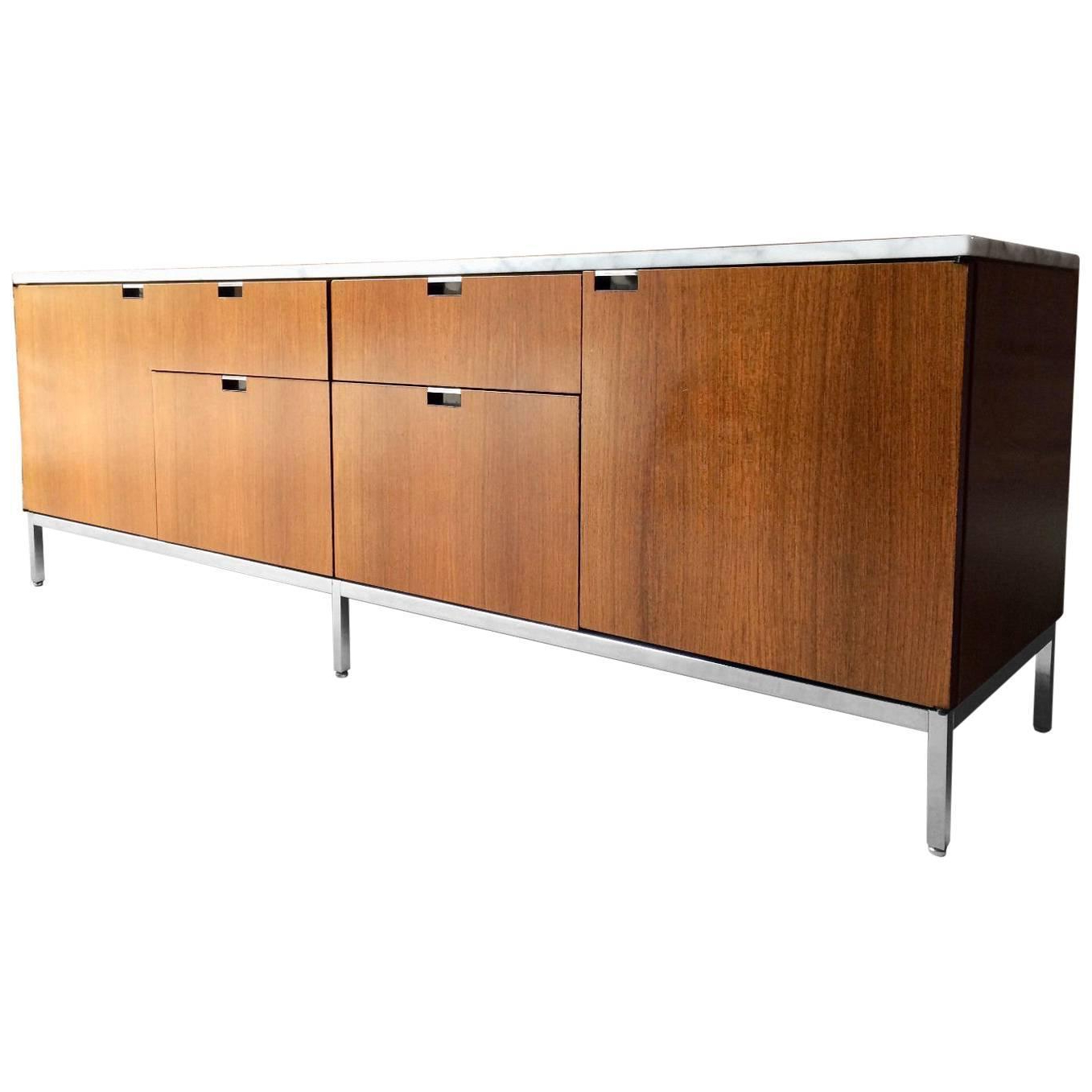 Florence Knoll Credenza Sideboard Marble Topped Light Walnut Mid Century Inside Ocean Marble Credenzas (View 13 of 20)