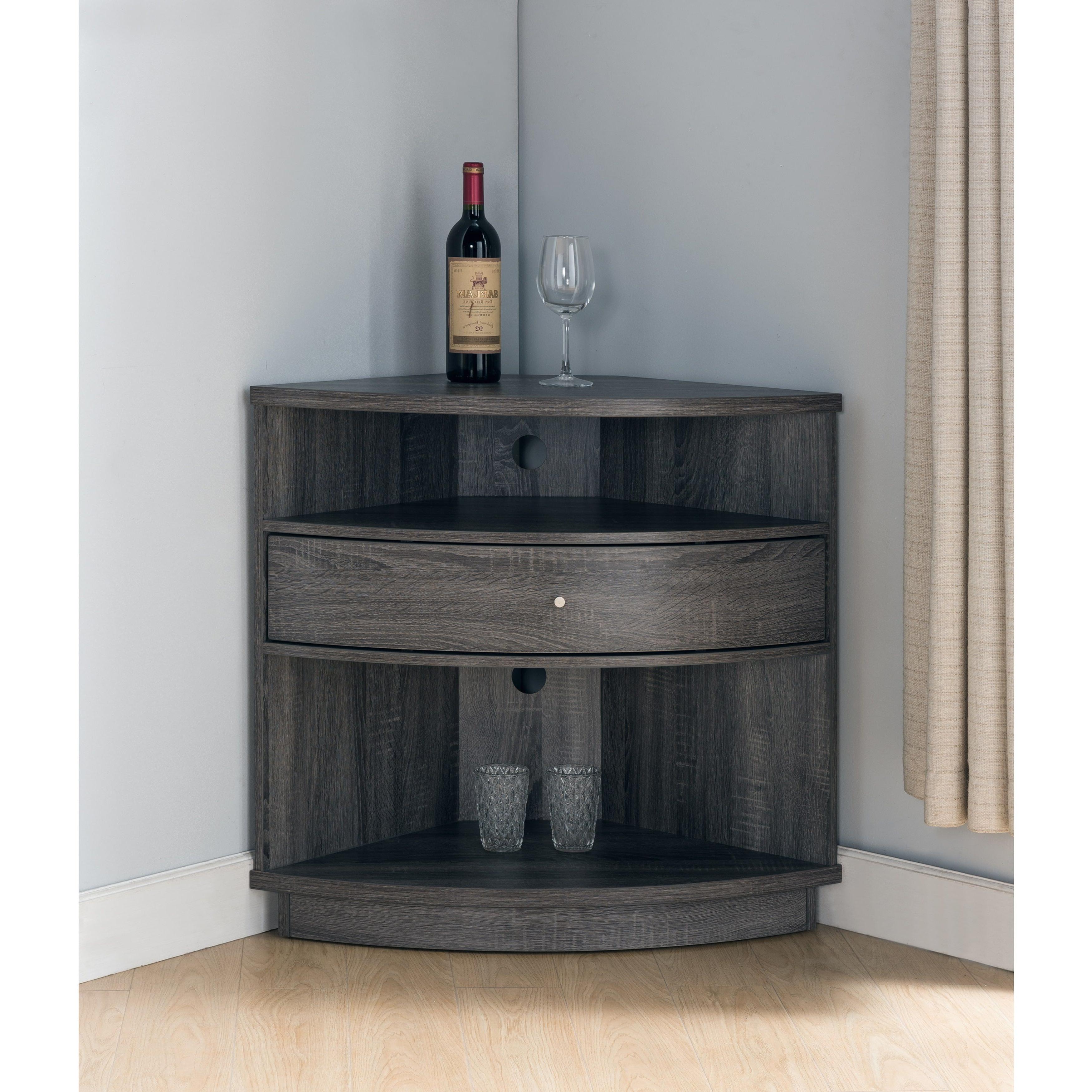 Furniture Of America Aishe Contemporary Multi Shelf Corner Inside Multi Shelf Corner Buffets (View 2 of 20)