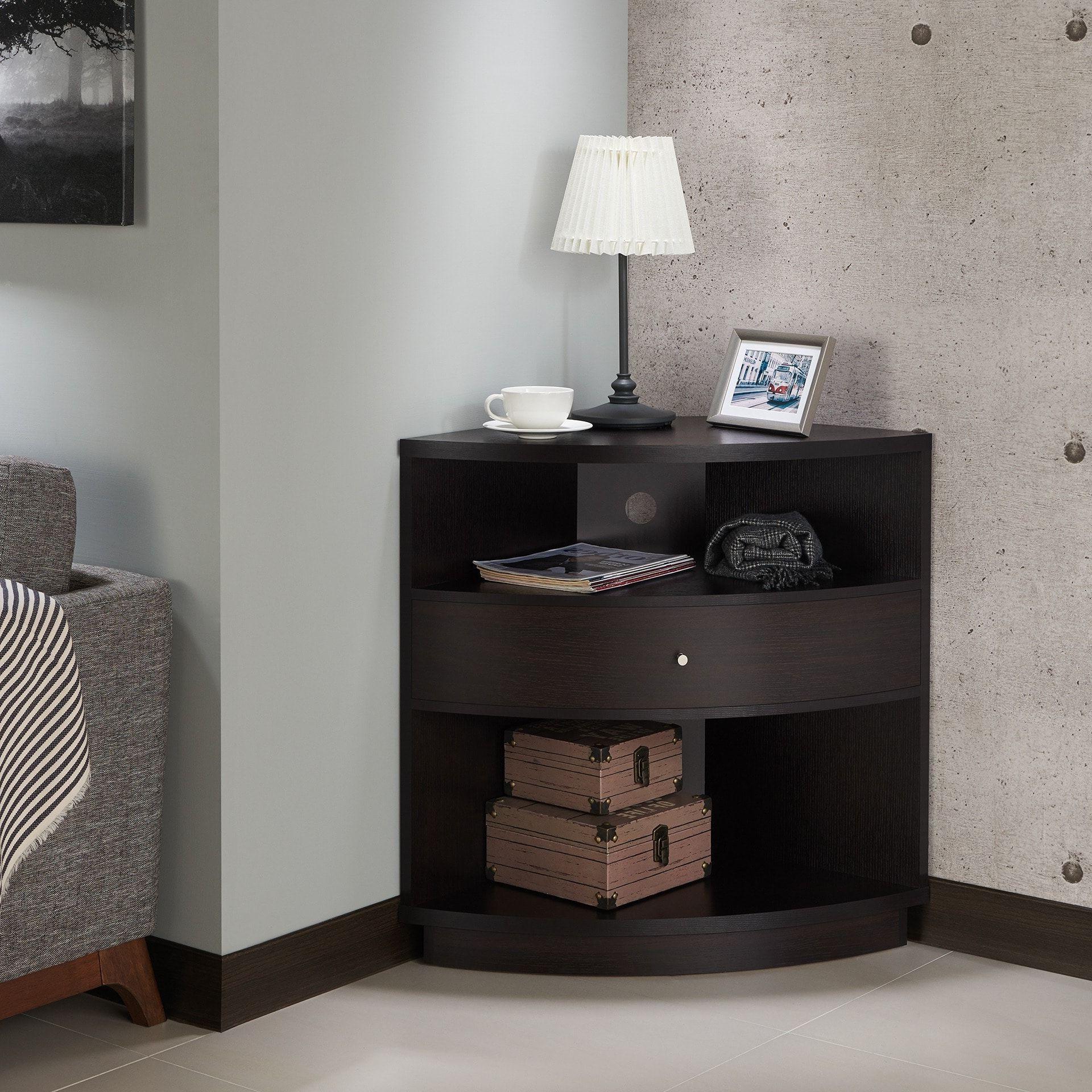 Furniture Of America Aishe Contemporary Multi Shelf Corner Regarding Multi Shelf Corner Buffets (View 7 of 20)