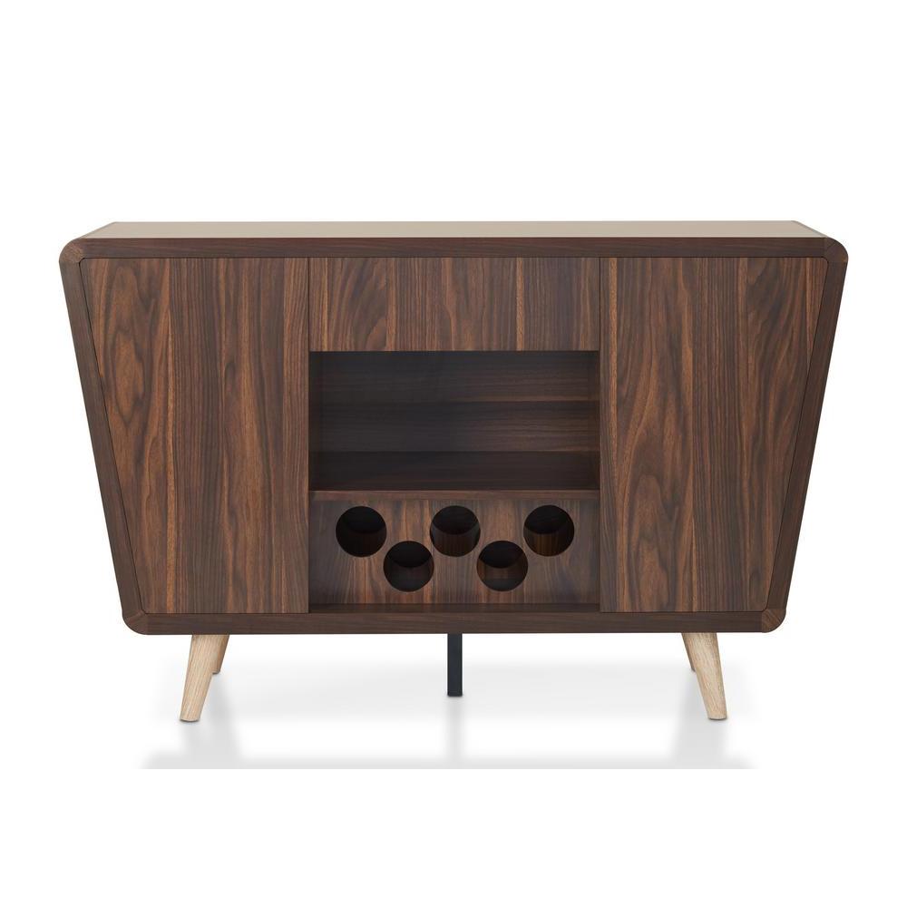 Furniture Of America Celvin Dark Walnut Buffet Idi 161549 Regarding Vintage Walnut Sliding Door Buffets (View 11 of 20)