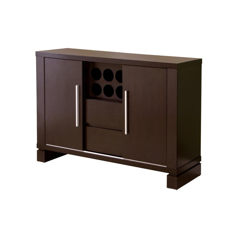 Furniture Of America Delanore Cappuccino Buffet Id 11423 For Modern Cappuccino Open Storage Dining Buffets (View 6 of 20)