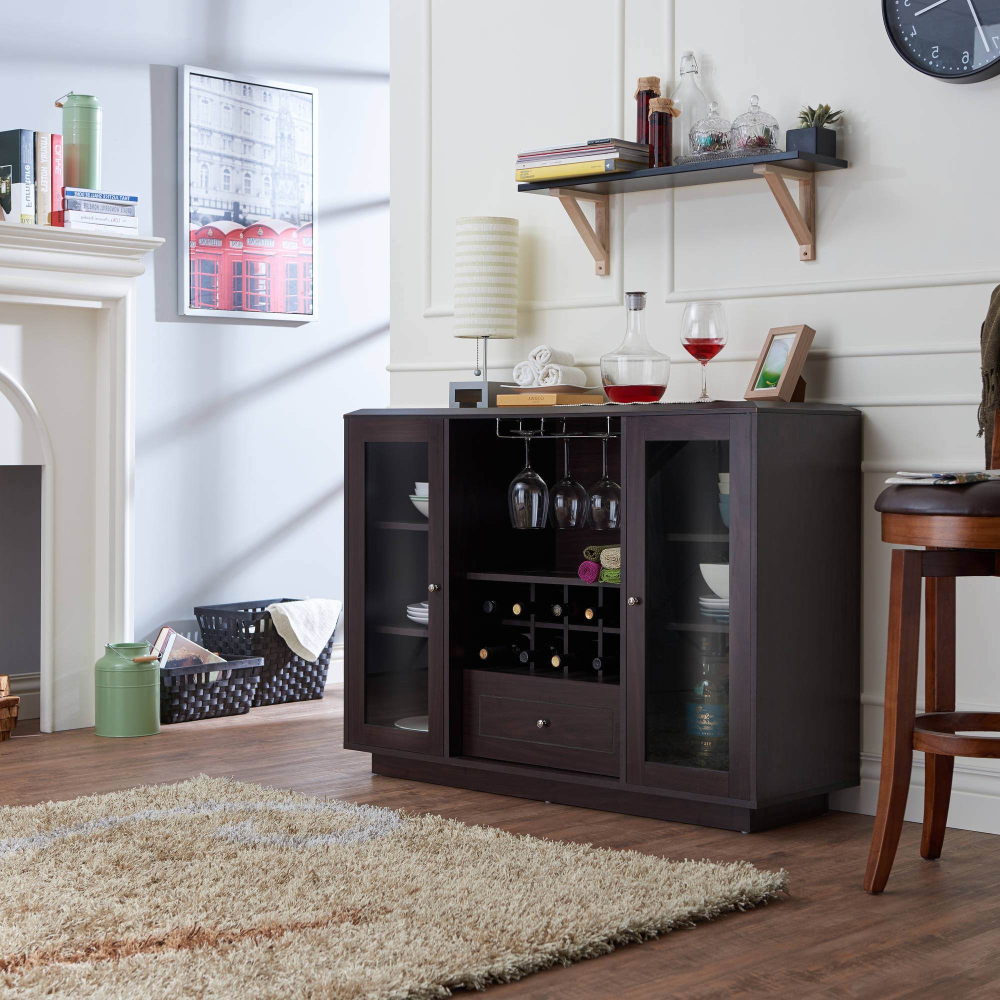 Furniture Of America Hegard Modern Multi Storage Dining Buffet, Espresso Within Contemporary Espresso 2 Cabinet Dining Buffets (View 8 of 20)
