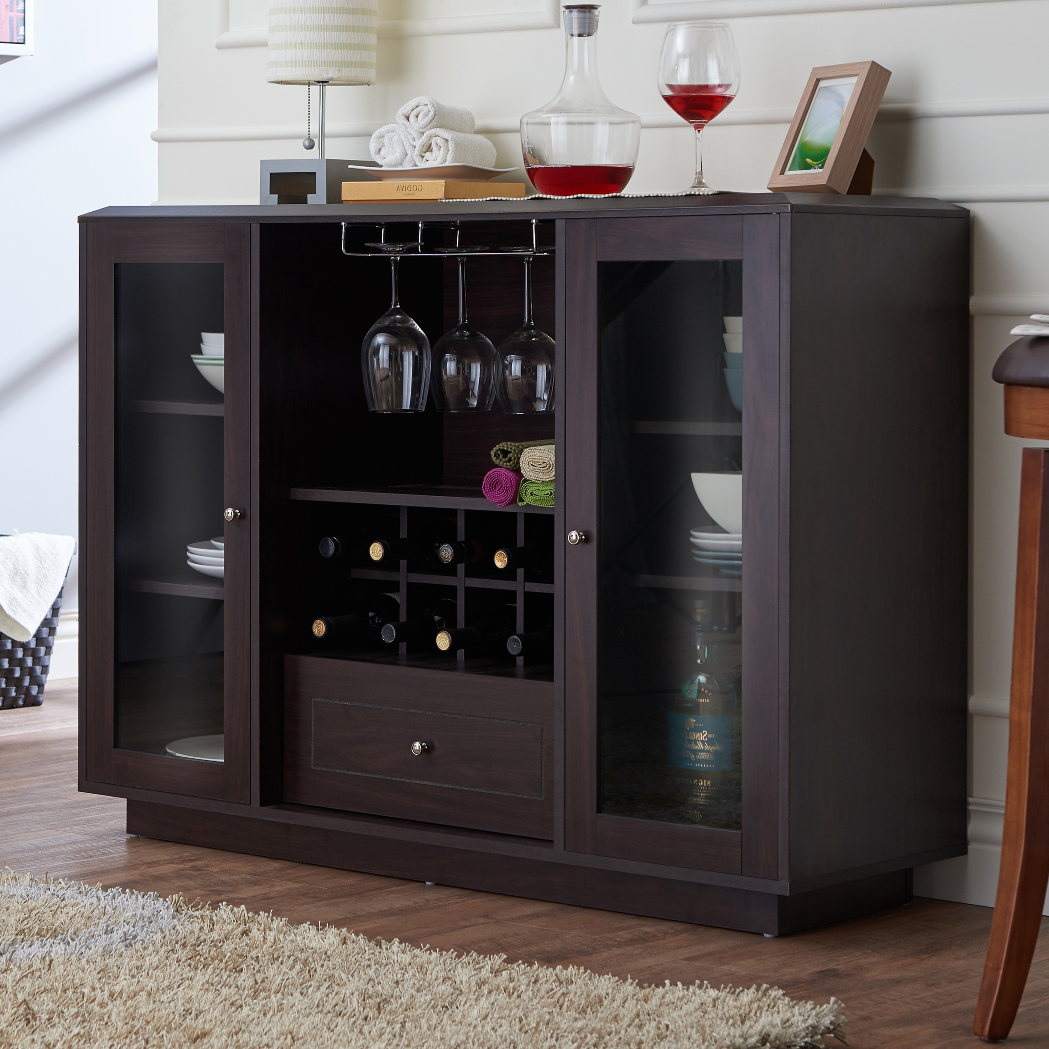 Furniture Of America Karthen Espresso Multi Storage Dining Buffet For Espresso Wood Multi Use Buffets (View 9 of 20)