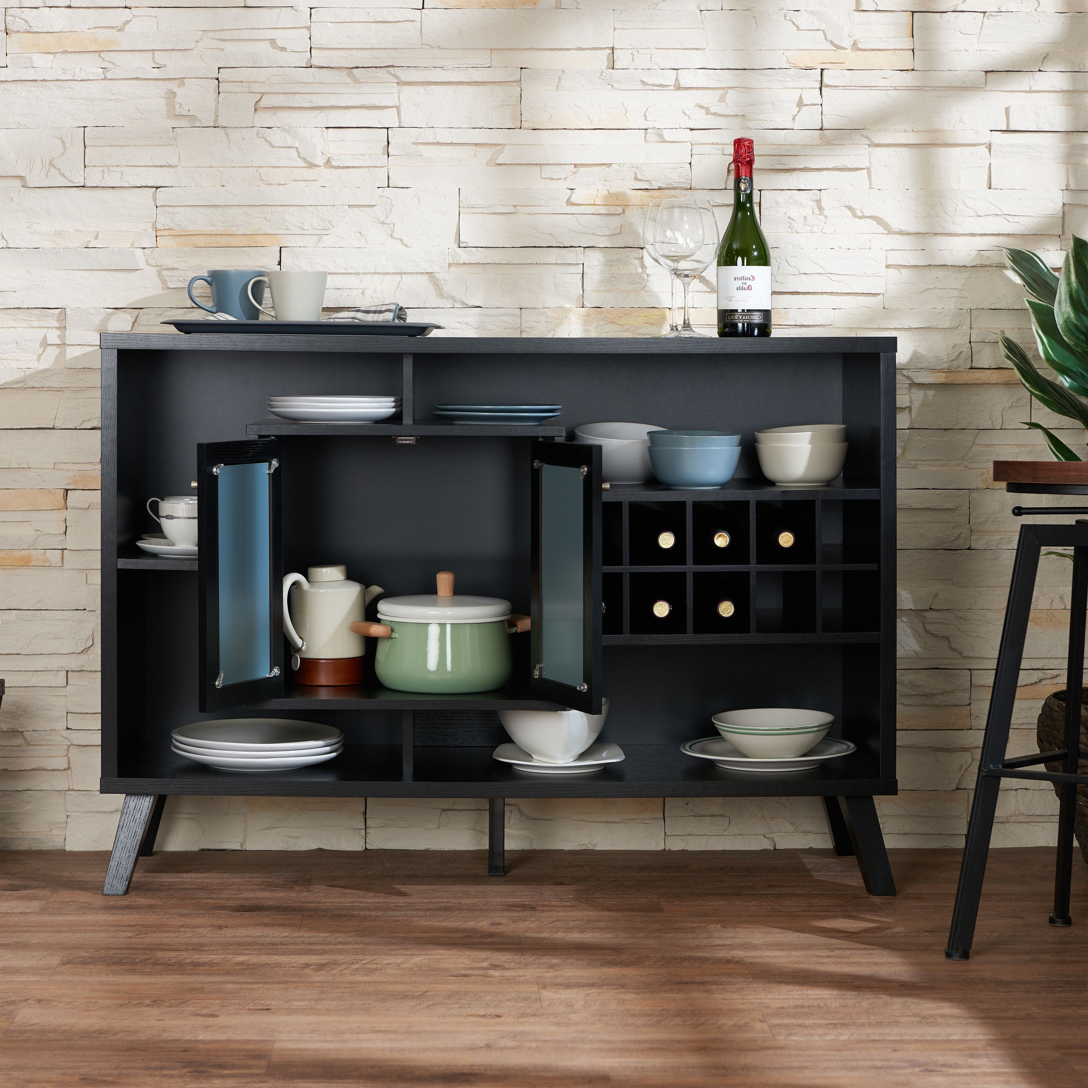 Furniture Of America Landers Modern Cappuccino Buffet Server Intended For Modern Cappuccino Open Storage Dining Buffets (View 9 of 20)
