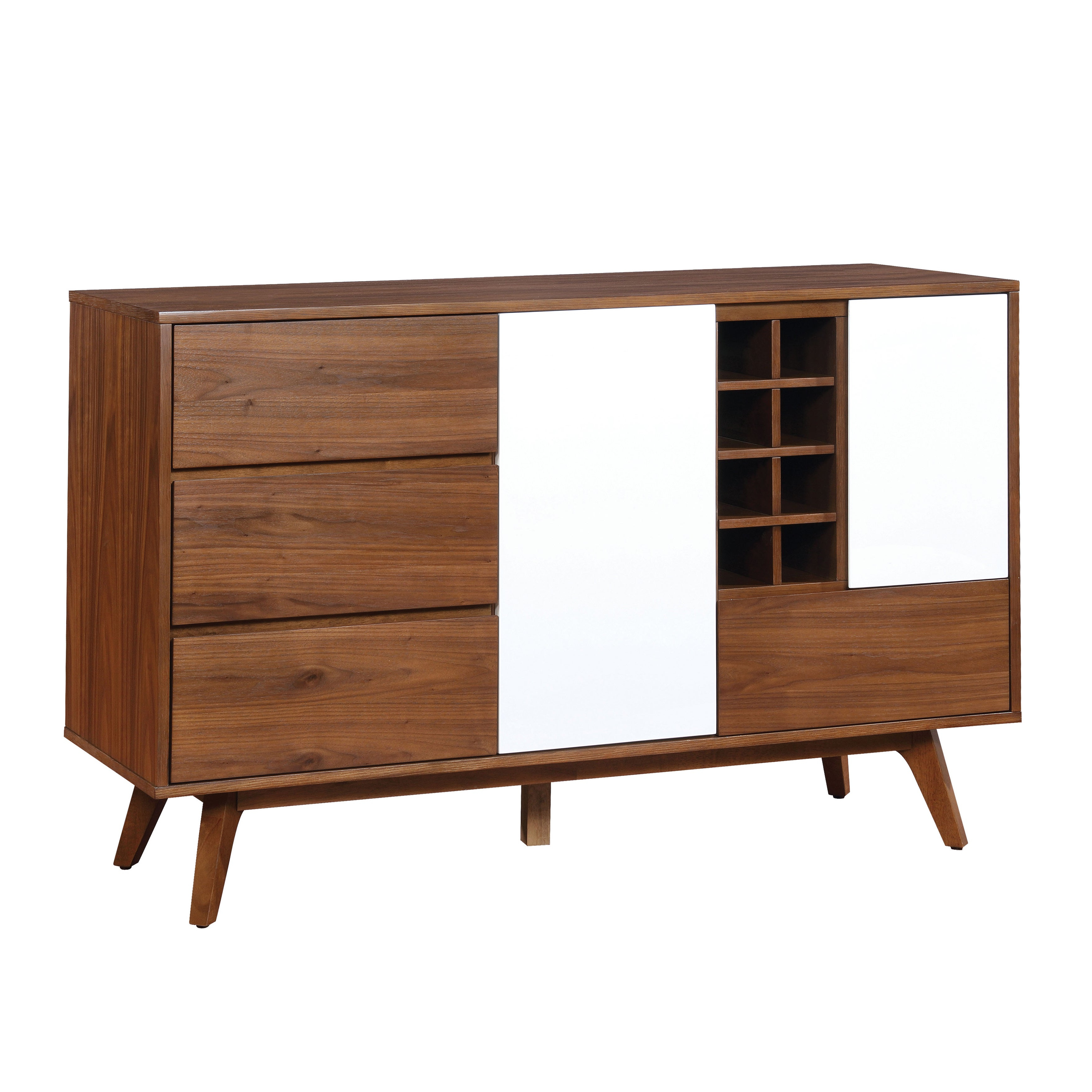 Furniture Of America Liman Mid Century Modern 2 Tone Oak/white Multi Storage Buffet/wine Cabinet Regarding Light White Oak Two Tone Modern Buffets (View 2 of 20)